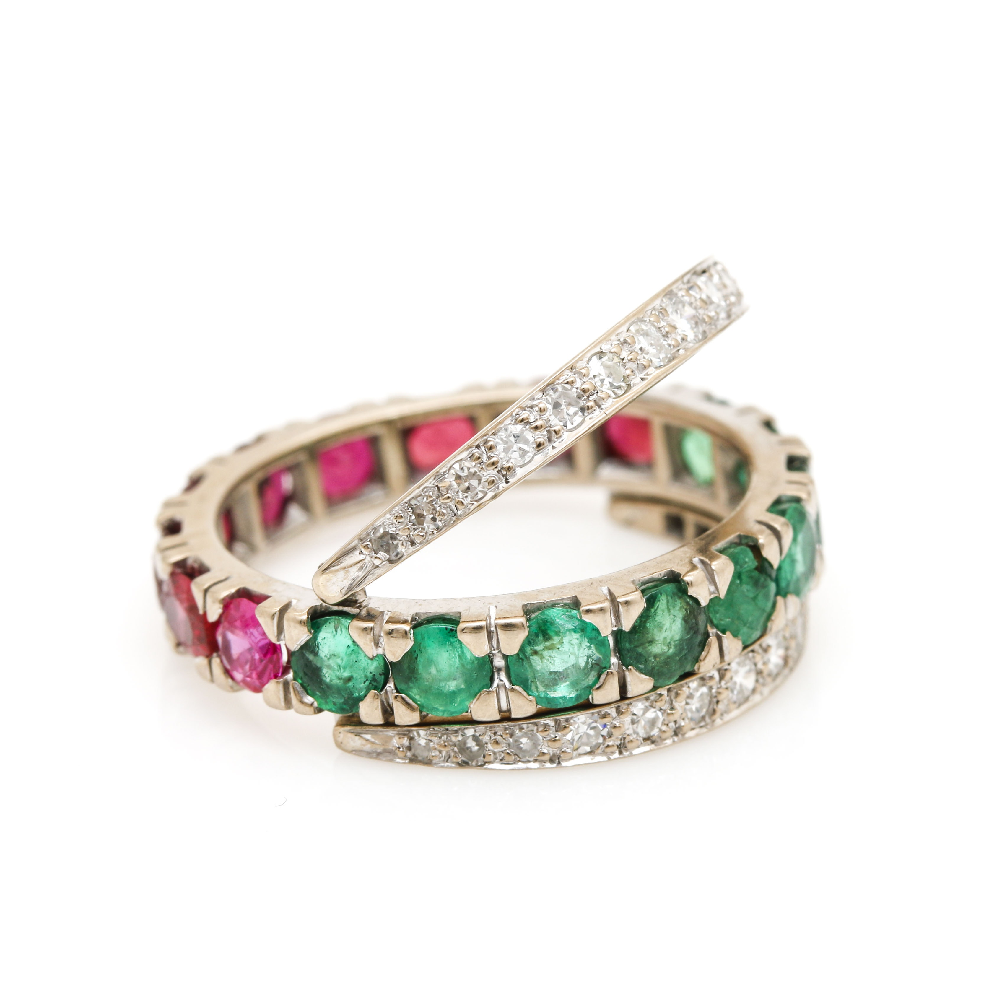 Vintage 18K White Gold Ruby, Emerald, and Diamond Reversible Ring