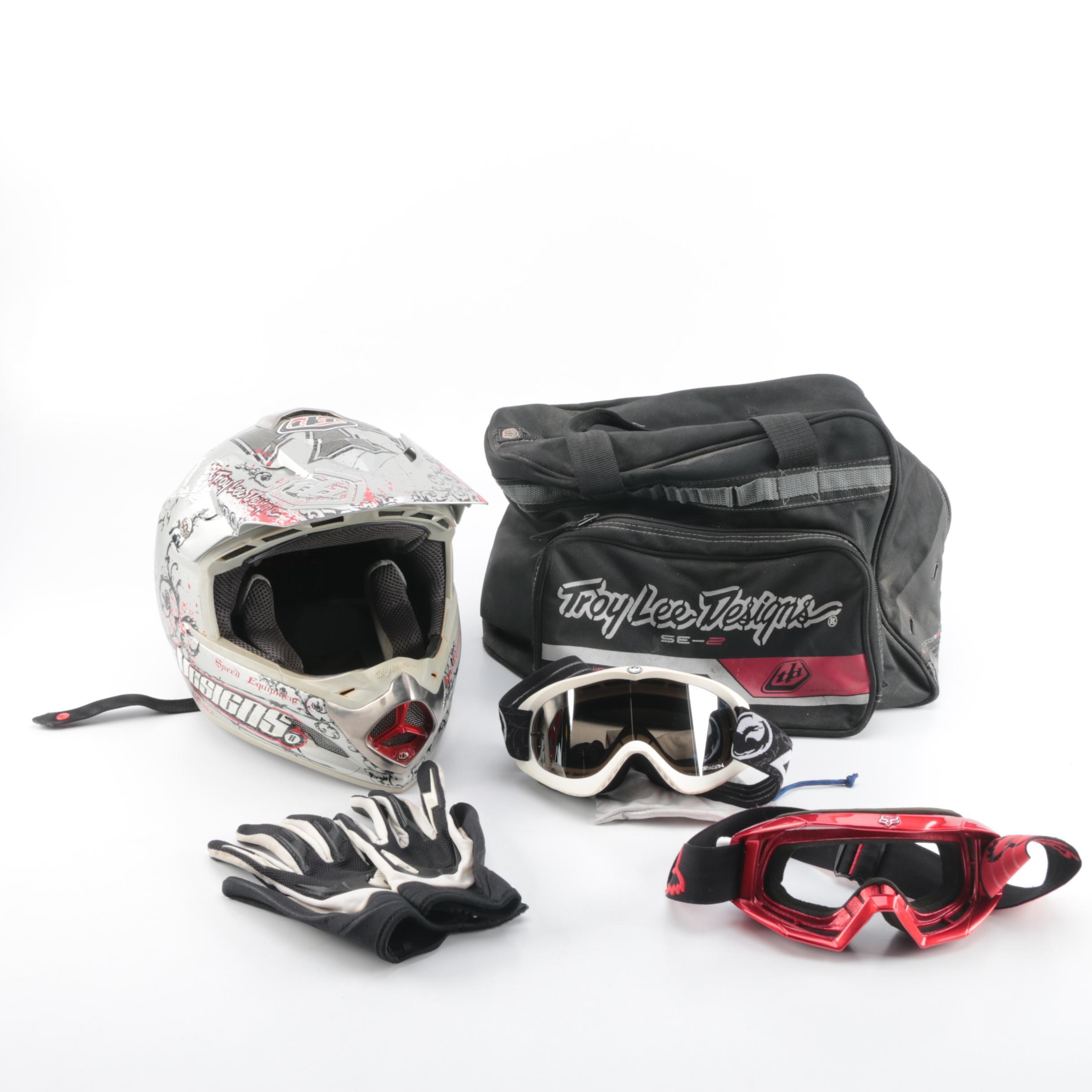 Troy Lee Designs Motocross Helmet with Accessories