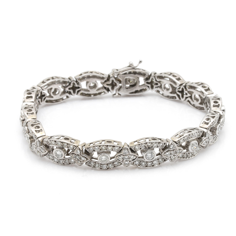 14K White Gold 4.48 CTW Diamond Bracelet