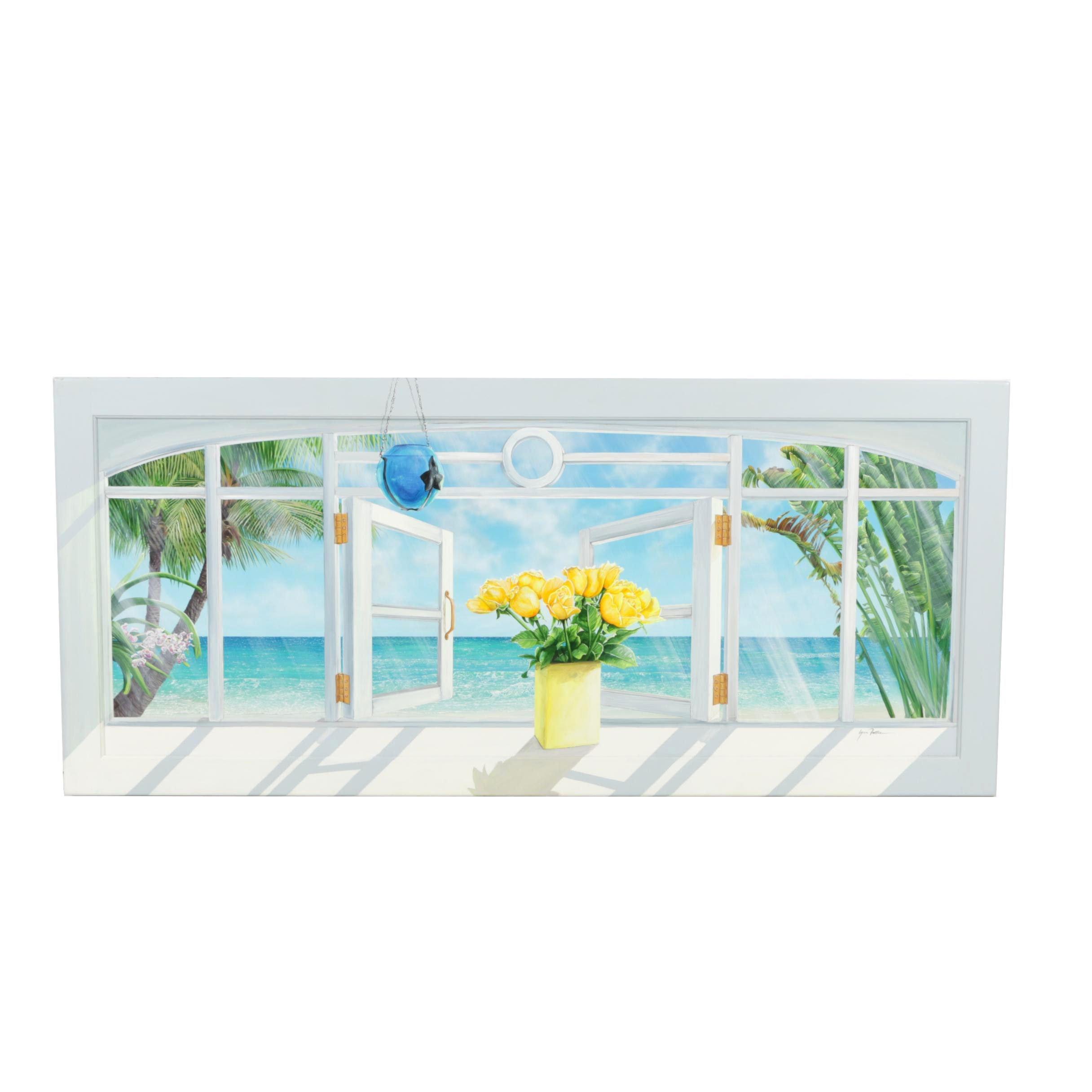 Lynn Fecteau Original Oil Painting of Window View