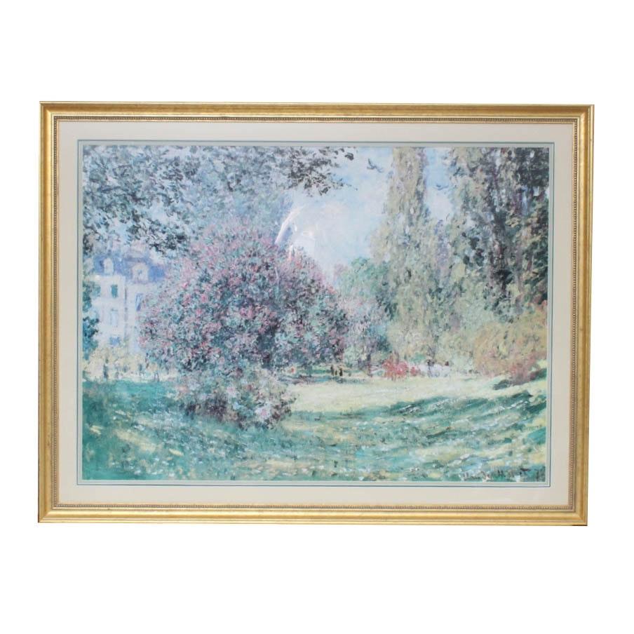 """After Claude Monet Offset Lithograph Print """"Le Parc Monceau, Paris"""""""