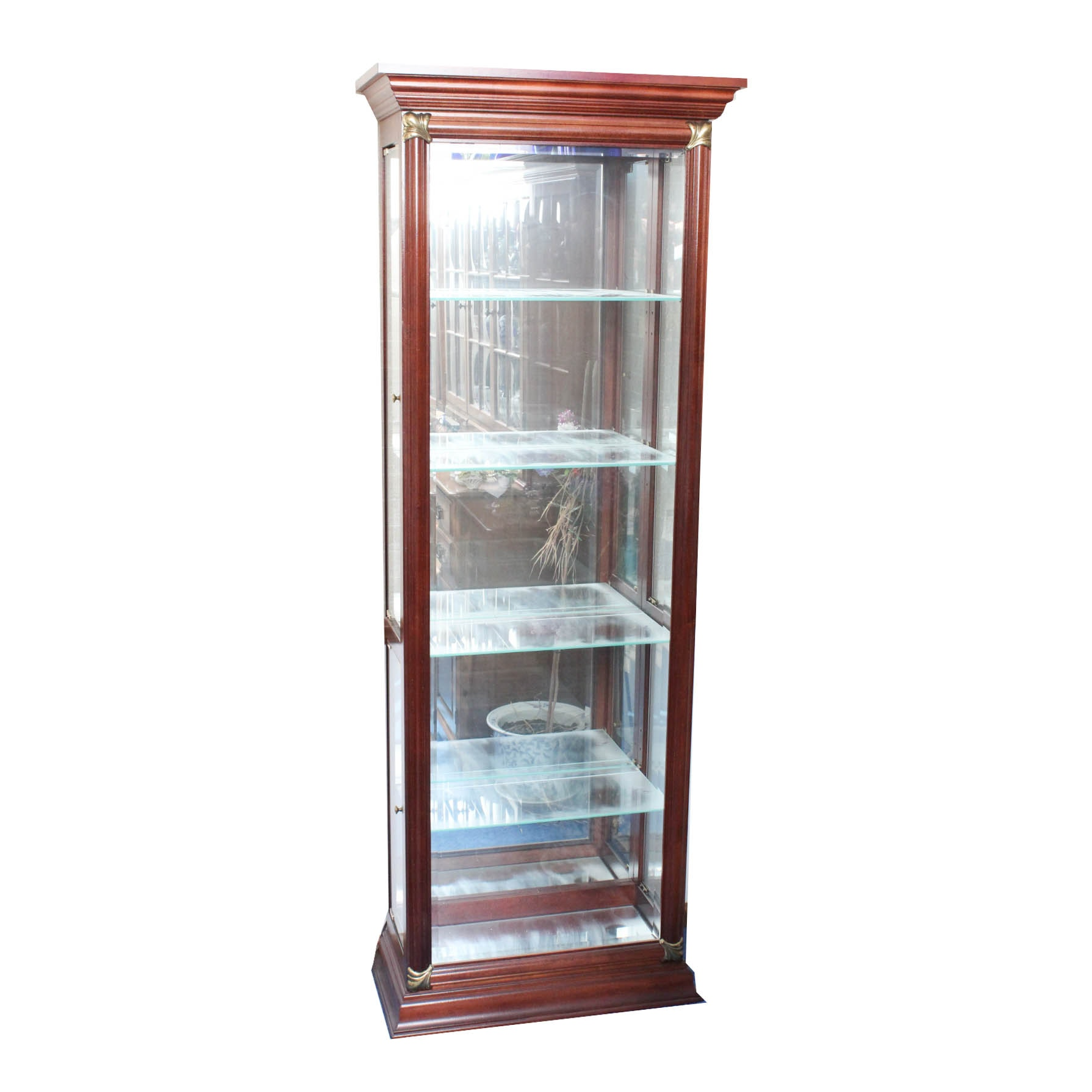Cherry Framed Glass Display Cabinet