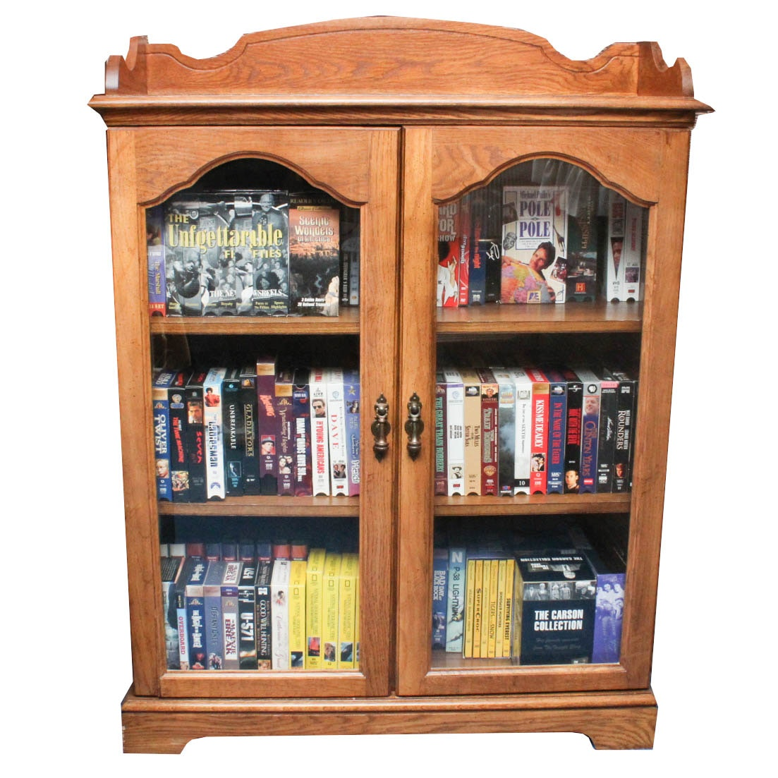 Vintage Wooden Display Cabinet with VHS Collection