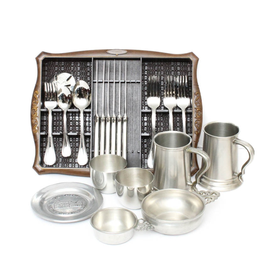 Collection of Pewter and Stainless Steel Tableware