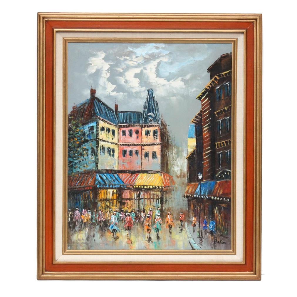 Original Balin Oil Painting on Canvas of Paris Street