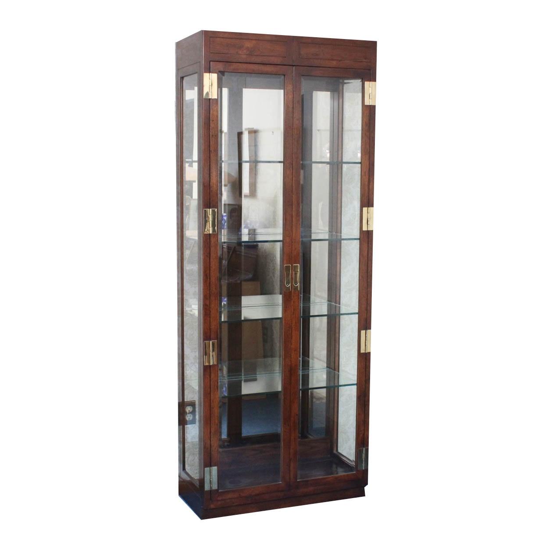 Oak Framed Lighted Display Cabinet