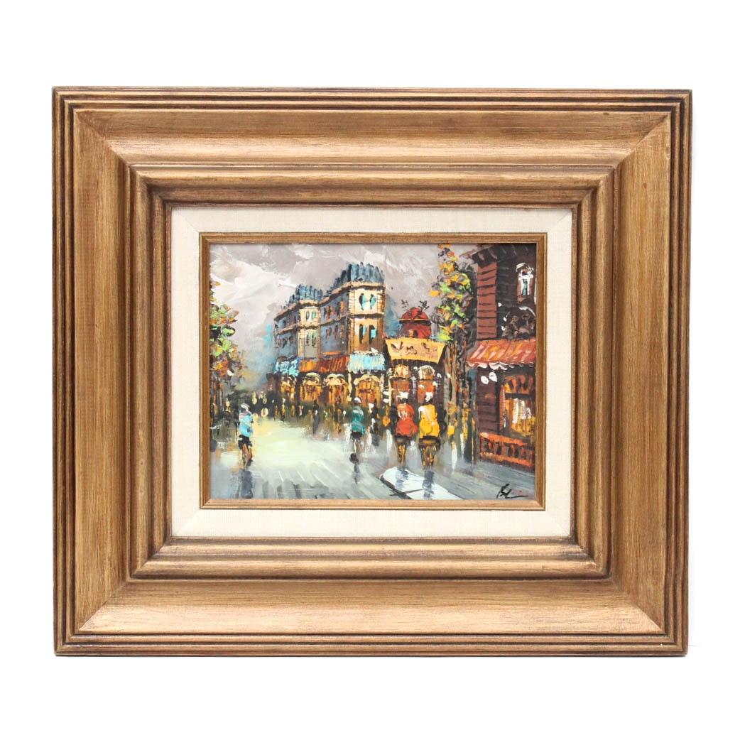 Original Oil on Canvas Paris Street Scene