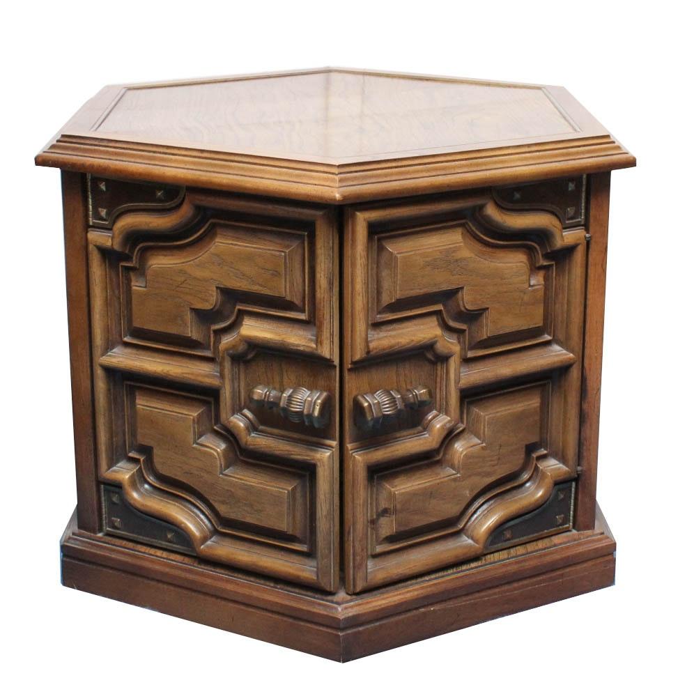 Vintage Oak Veneer Hexagonal Side Table