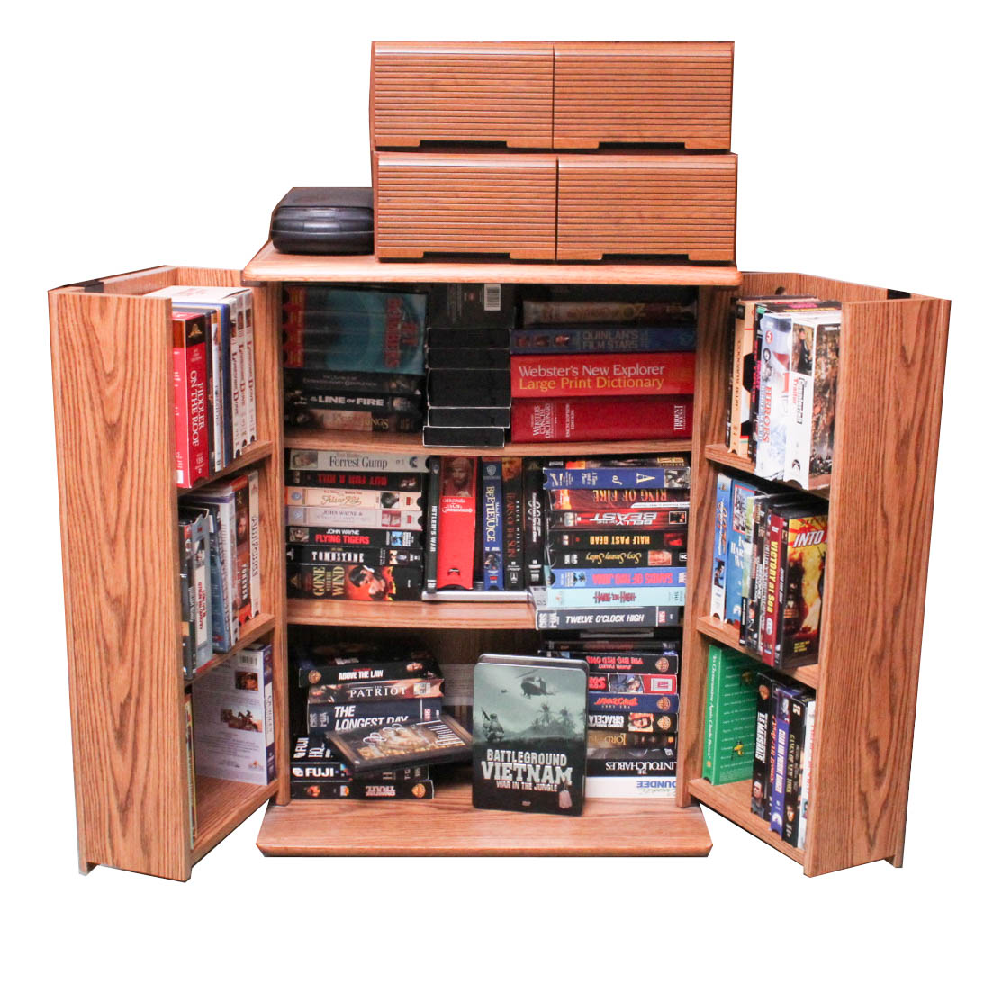 Wood Veneer Storage Cabinet Stocked with VHS and DVDs : EBTH