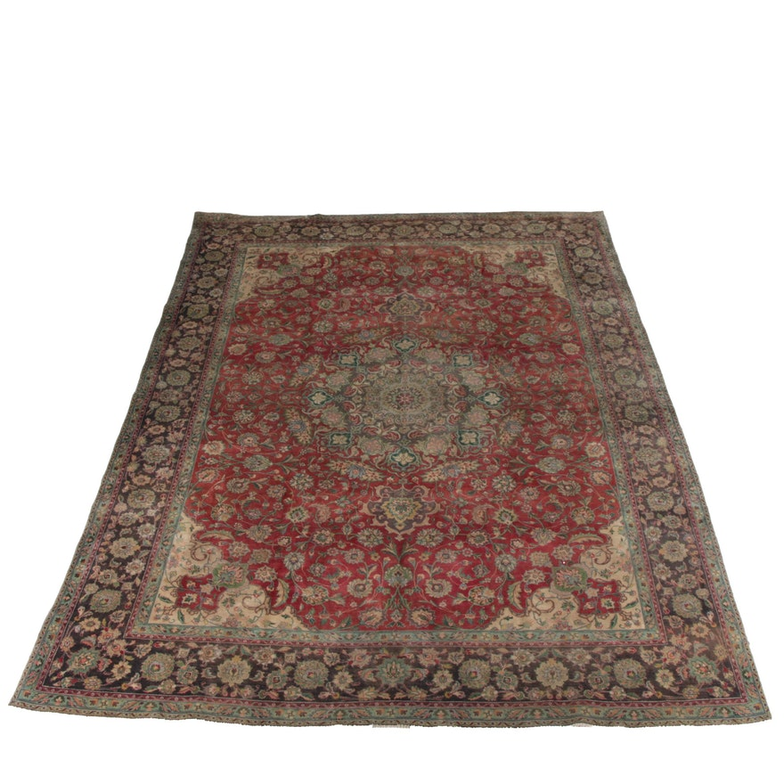 Hand Knotted Persian Wool Area Rug Ebth: Hand-Knotted Persian Kashan Wool Area Rug : EBTH