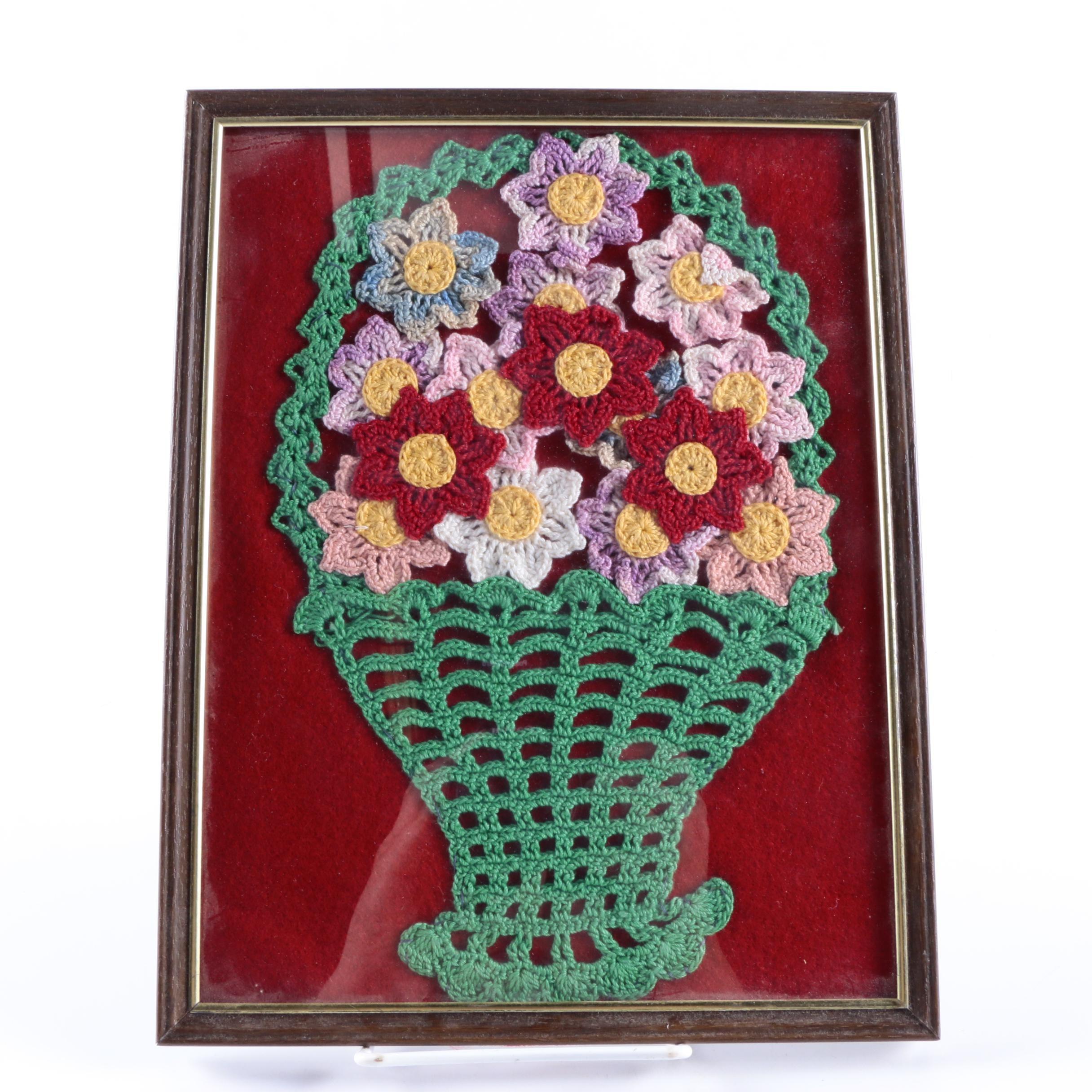 Framed Crocheted Floral Arrangement