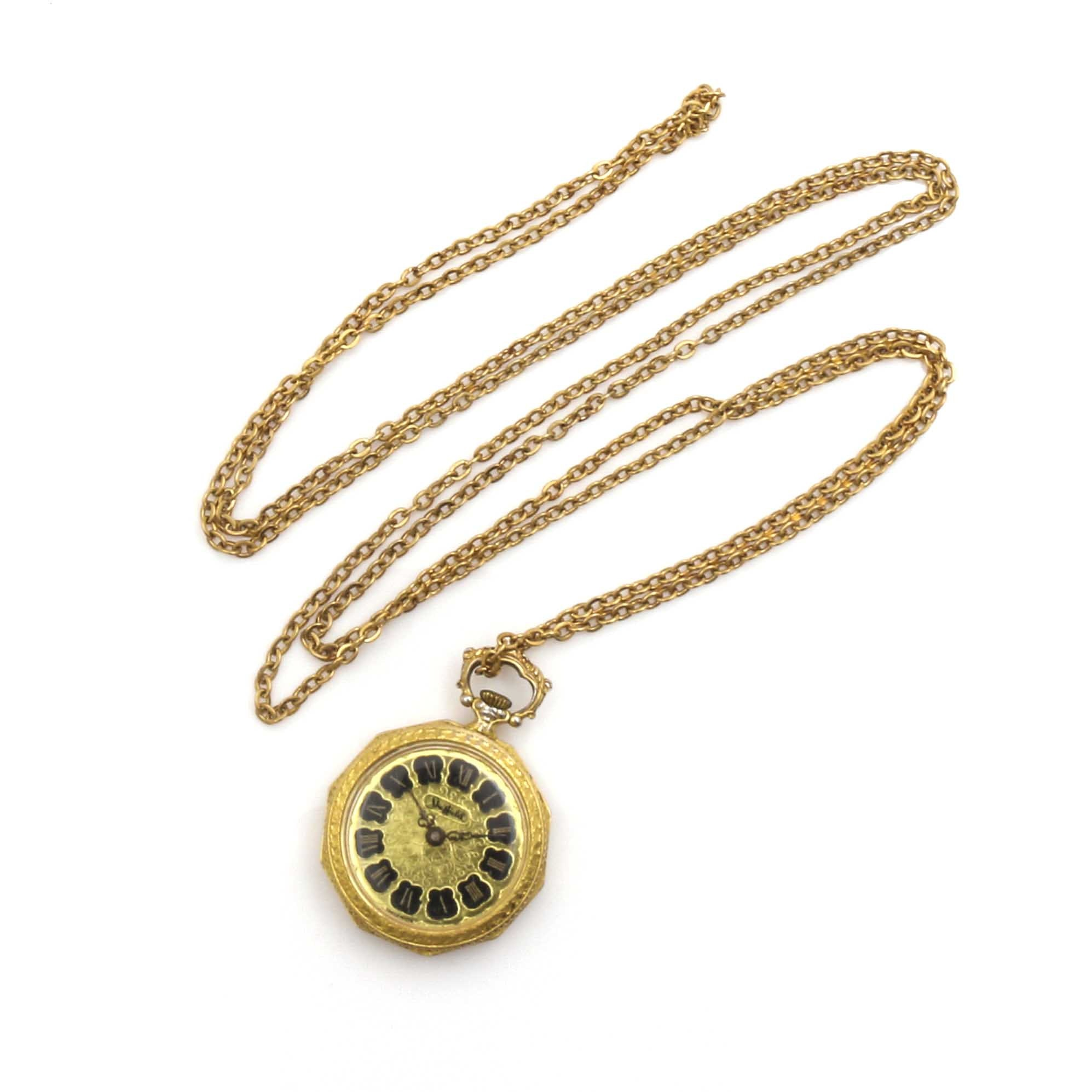 Sheffield Open Face Pendant Watch with Fob Chain
