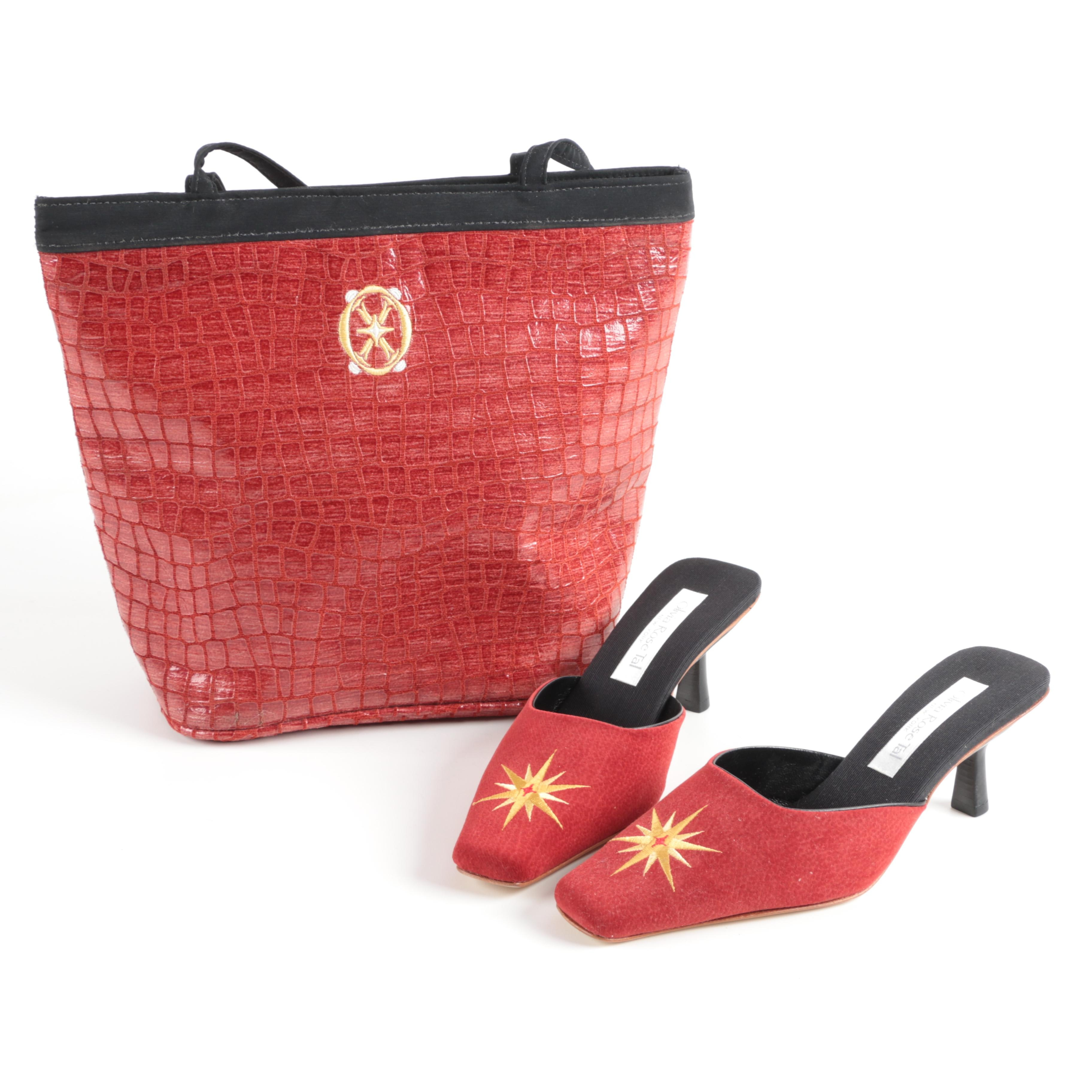 Olivia Rose Tal Matching Embroidered Mule Heels and Tote Bag