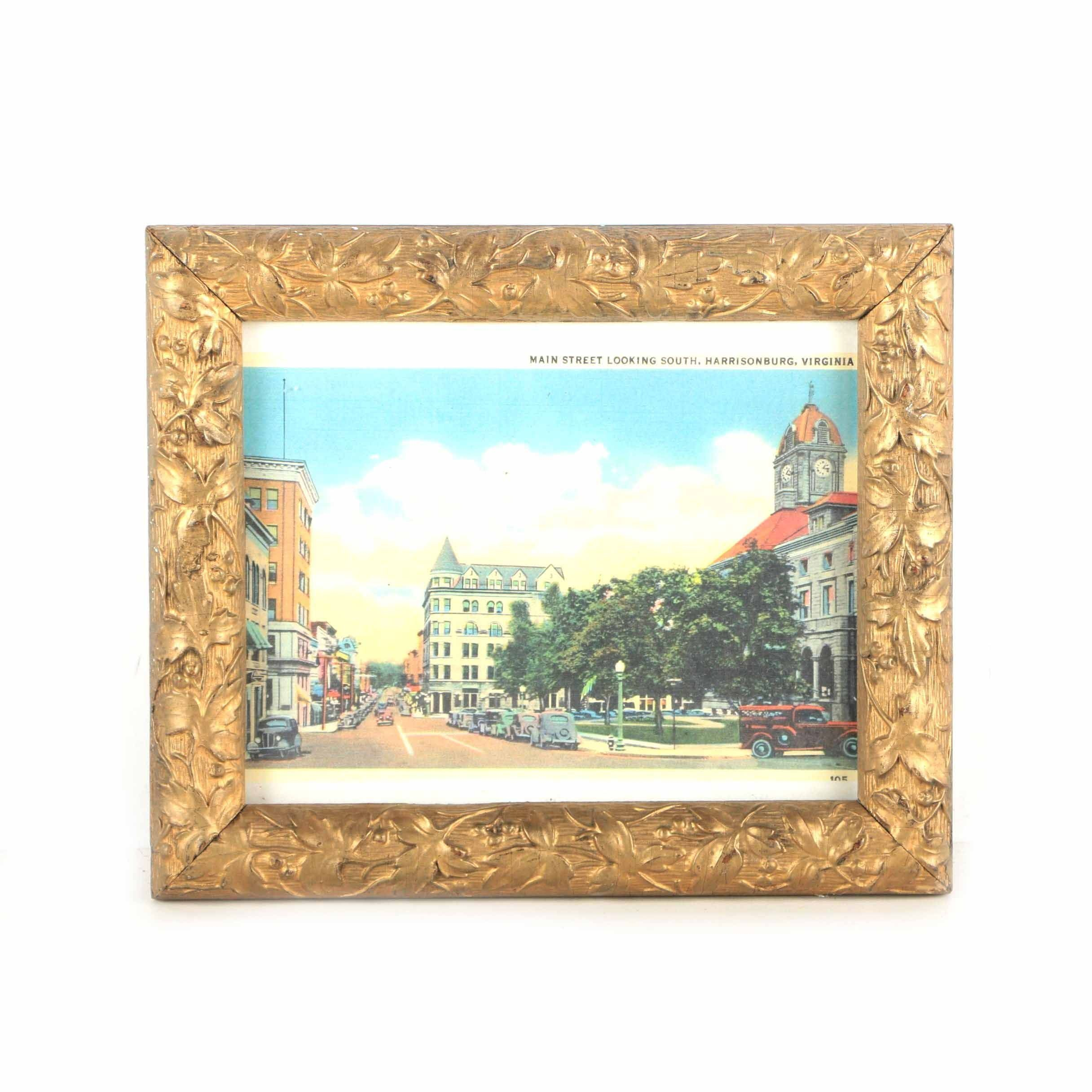 """Offset Lithograph on Paper """"Main Street Looking South, Harrisonburg, Virginia"""""""