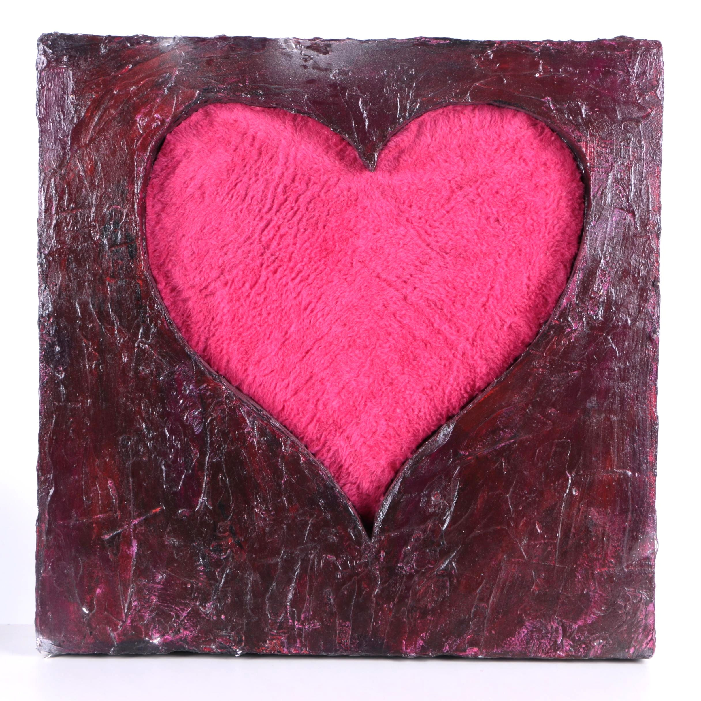 """Lonnie Duff Decorative Multimedia Heart Piece """"Cupid Making a Point/Wild Thing"""""""