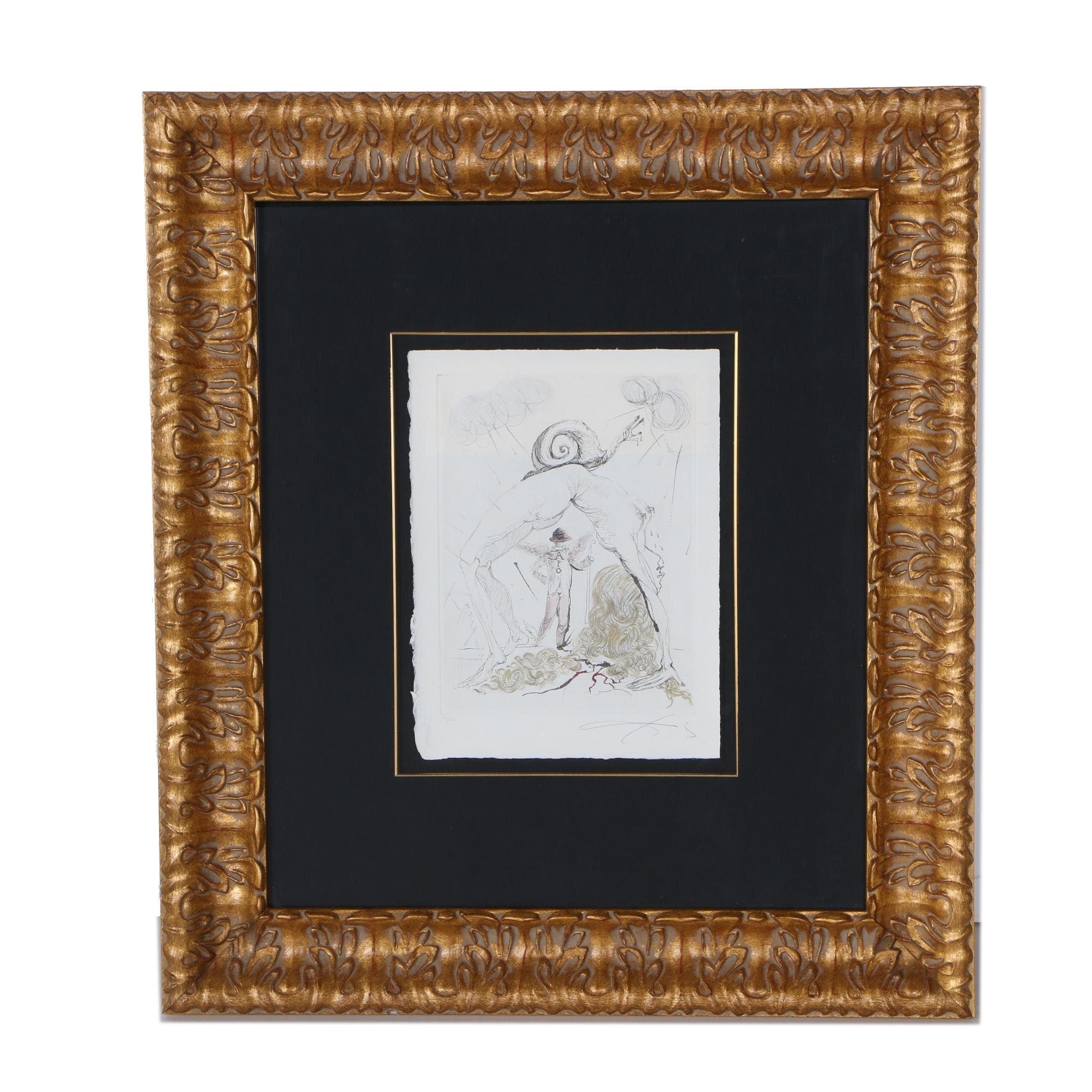 """Salvador Dalí Limited Edition Hand-Colored Etching on Paper """"La Femme à l'Escargot"""""""