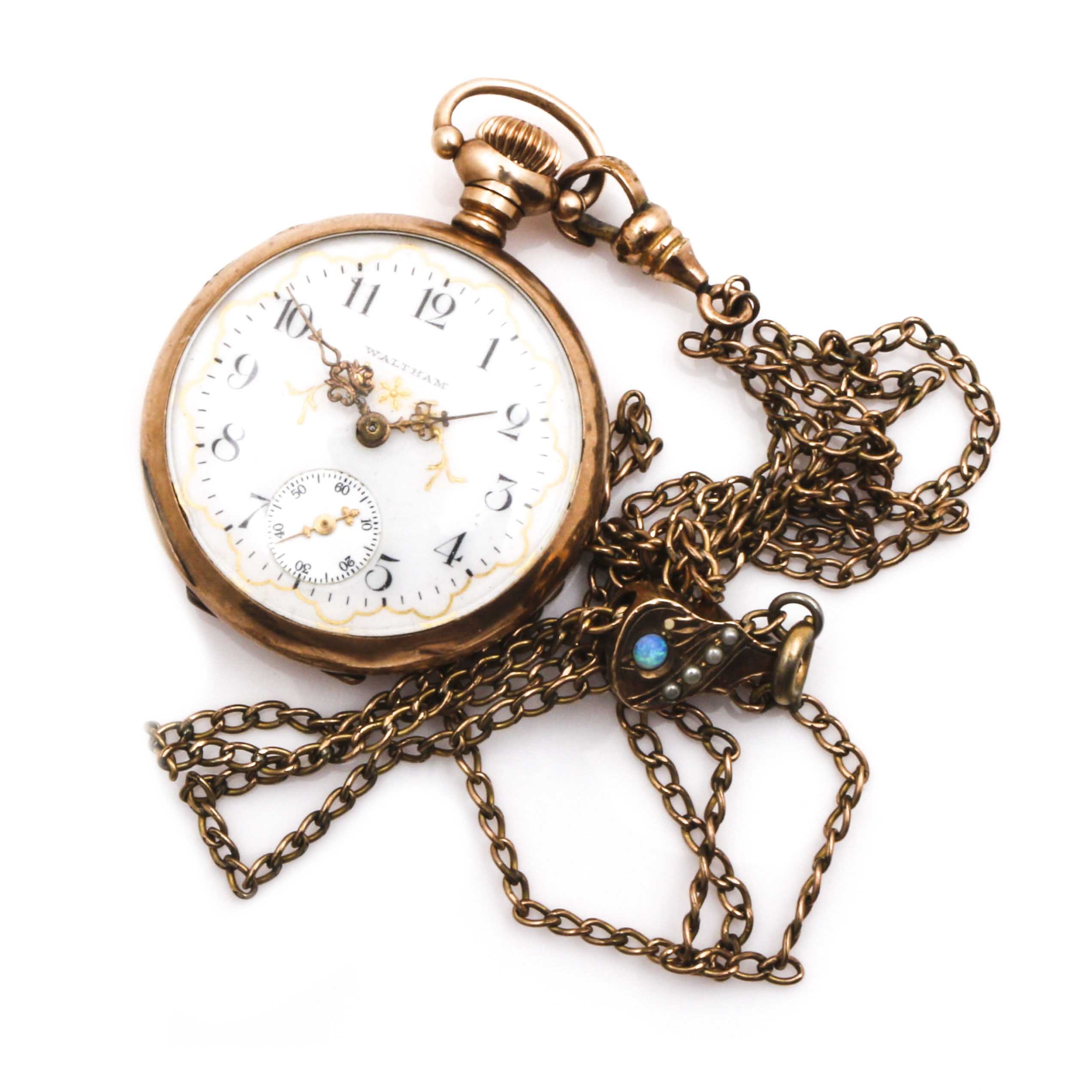 Waltham Open Face Pocket Watch with Opal and Pearl Accented Fob