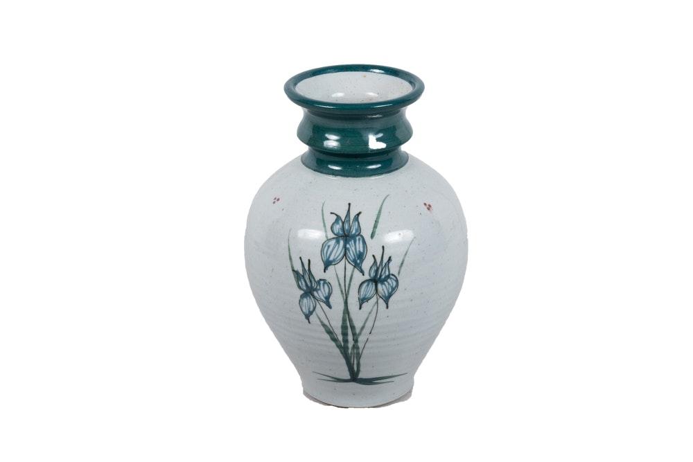 Wheel-Thrown Stoneware Art Pottery Vase