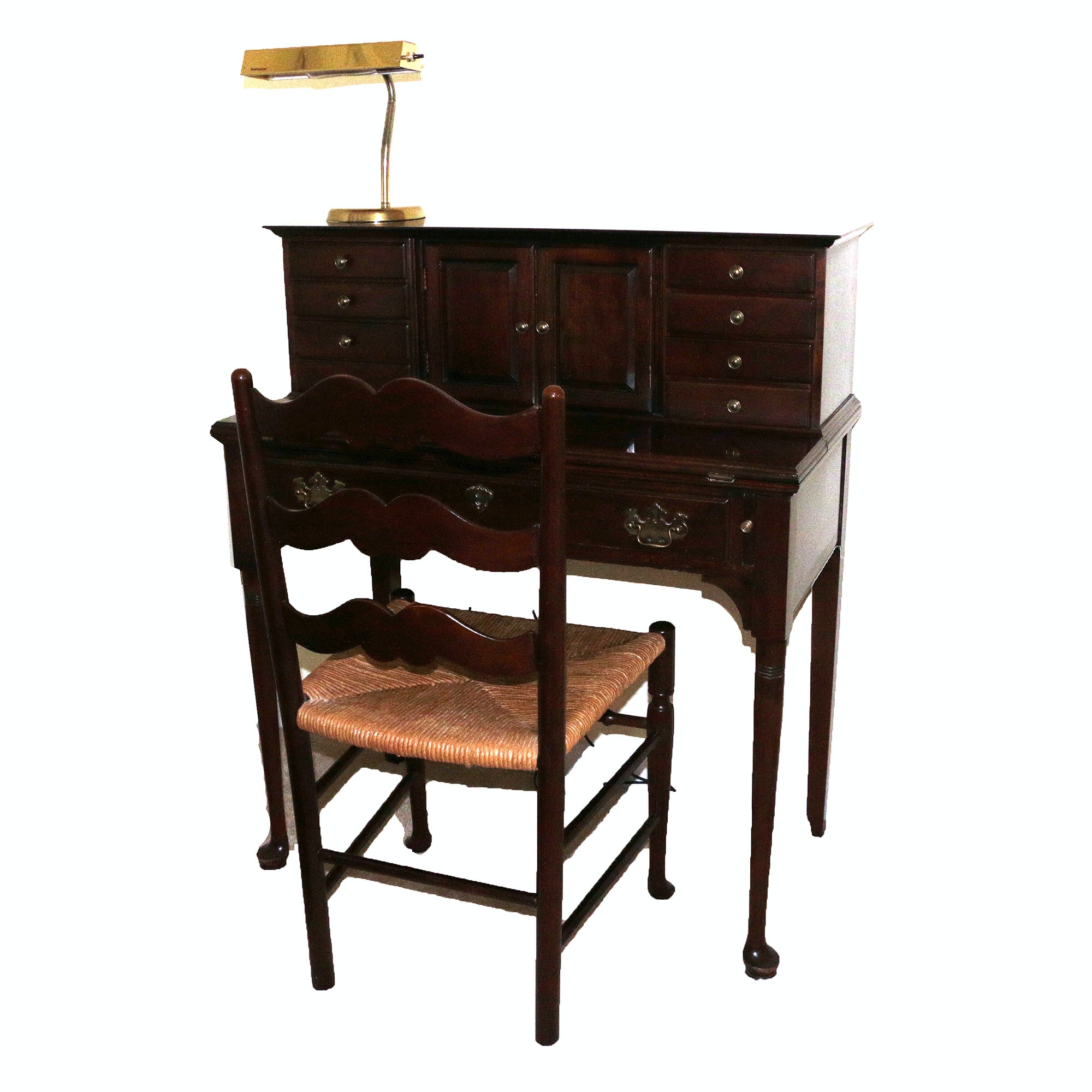 Pennsylvania House Queen Anne Style Cherry Writing Desk with Chair and Lamp