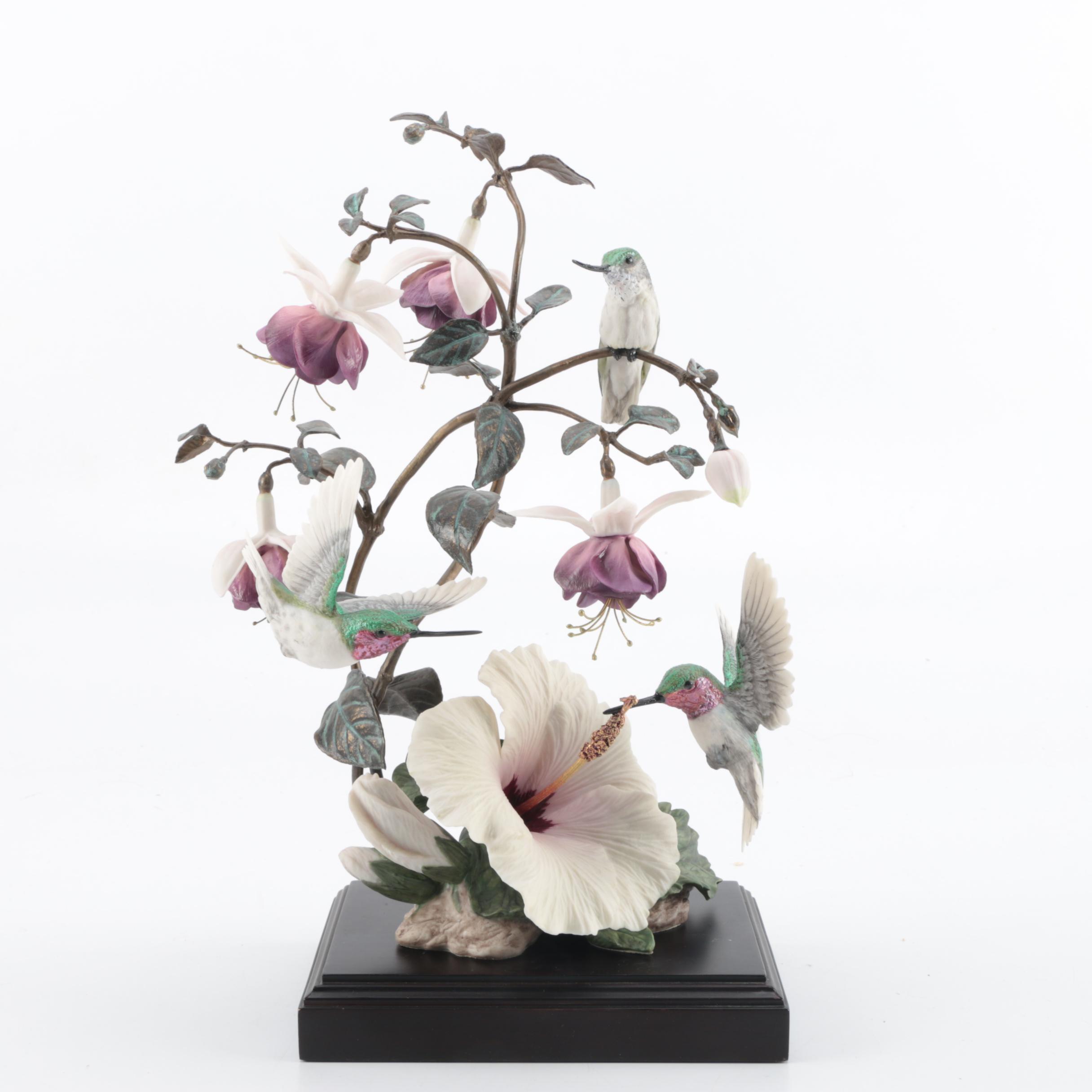 "Bird Figurine ""Flight of Fancy"" with Wooden Pedestal"