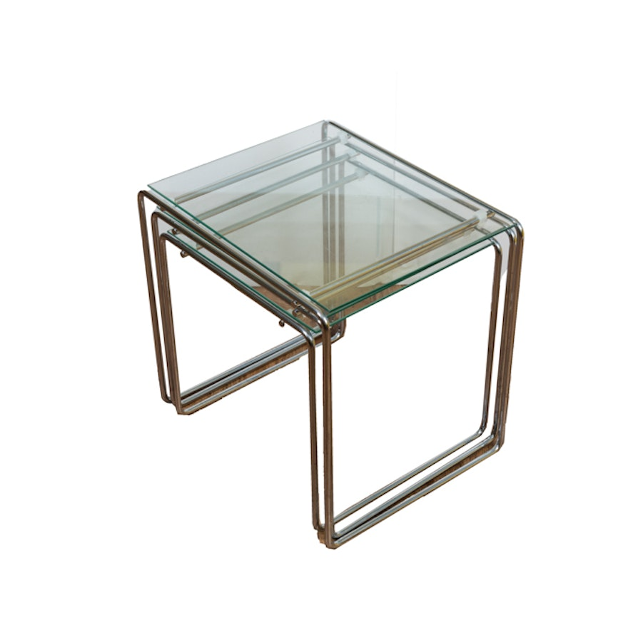 Modern glass top nesting tables ebth for Glass top nesting tables