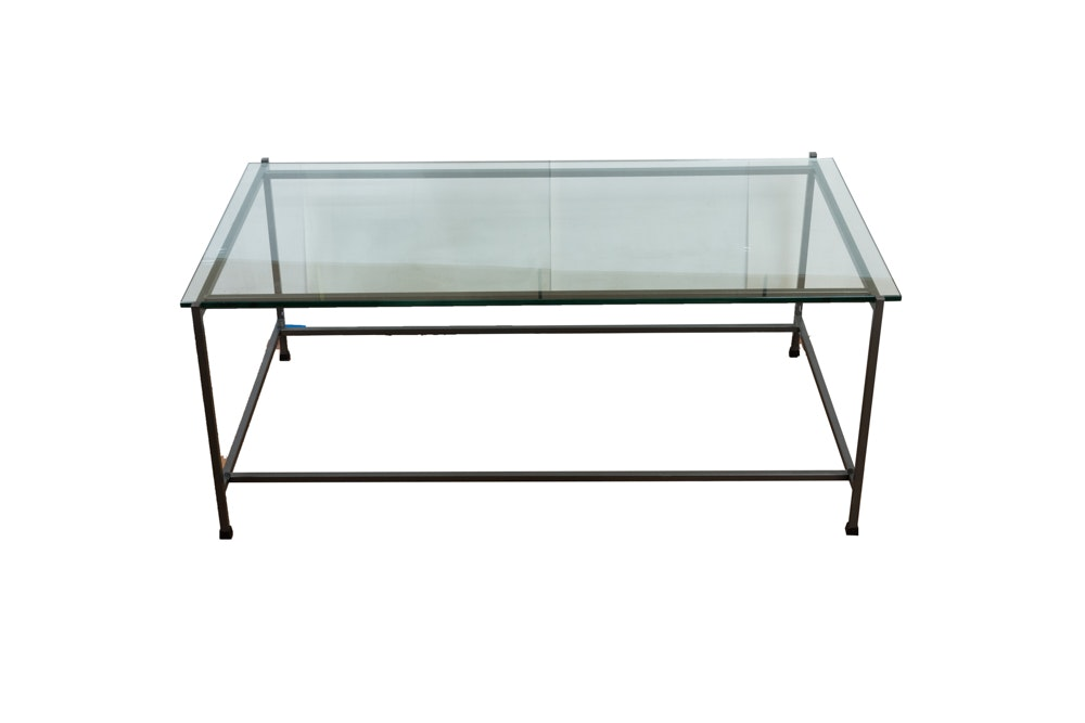 Bronze-Tone Framed Coffee Table With Glass