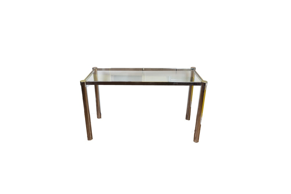 Mid Century Modern Style Chrome Sofa / Console Table With Glass Top