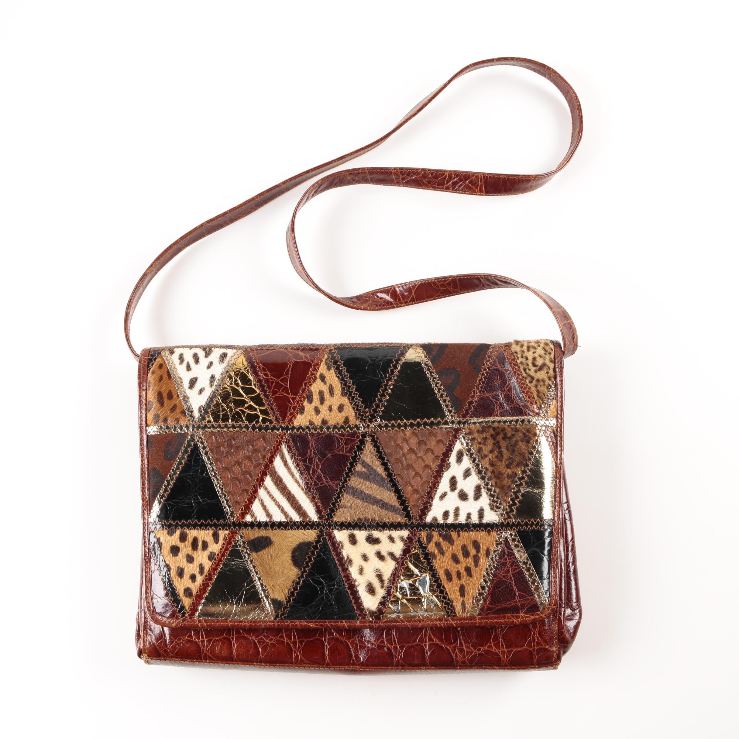 Vintage Leather Embossed and Calf Hair  Handbag