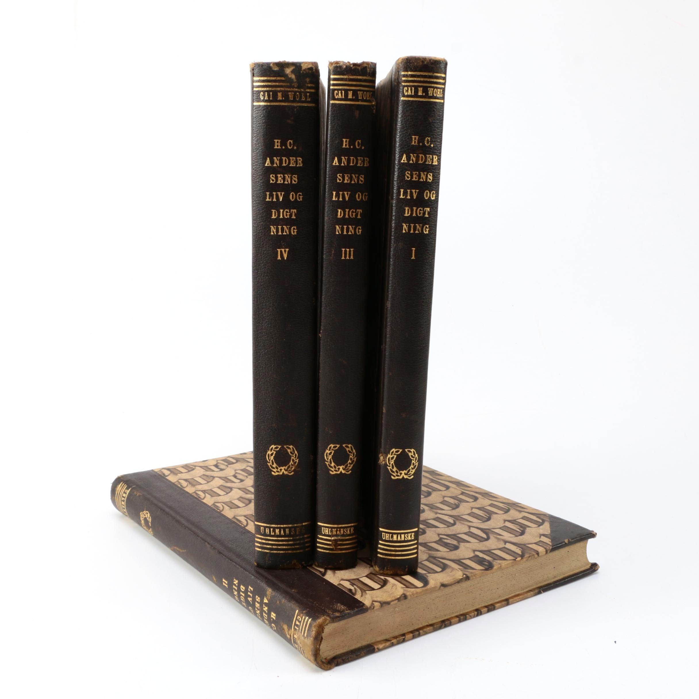 """1949 Four-Volume Danish """"H. C. Andersens Liv og Digtning"""" by Cai M. Woel"""