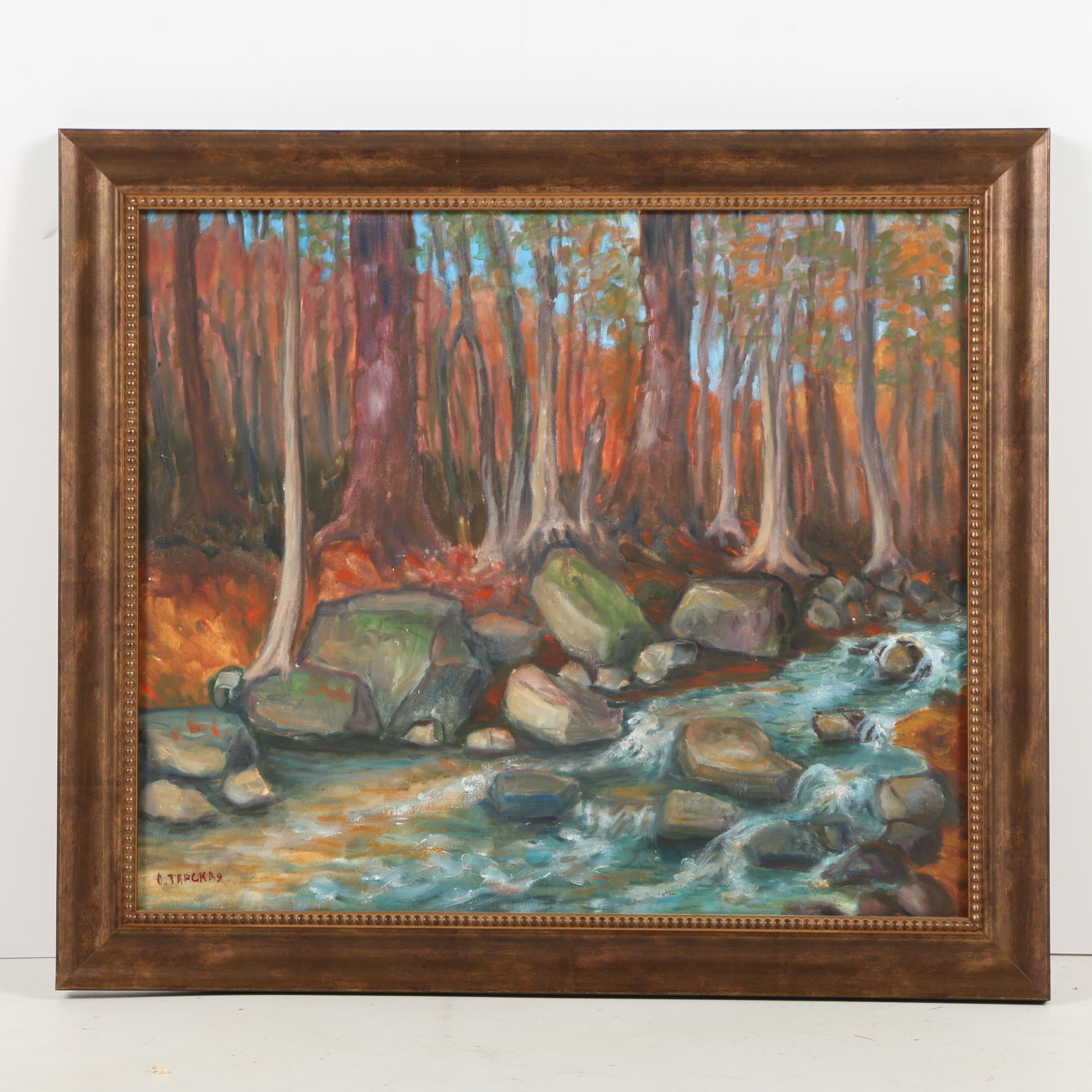 Oil Painting of a Forest Stream Scene