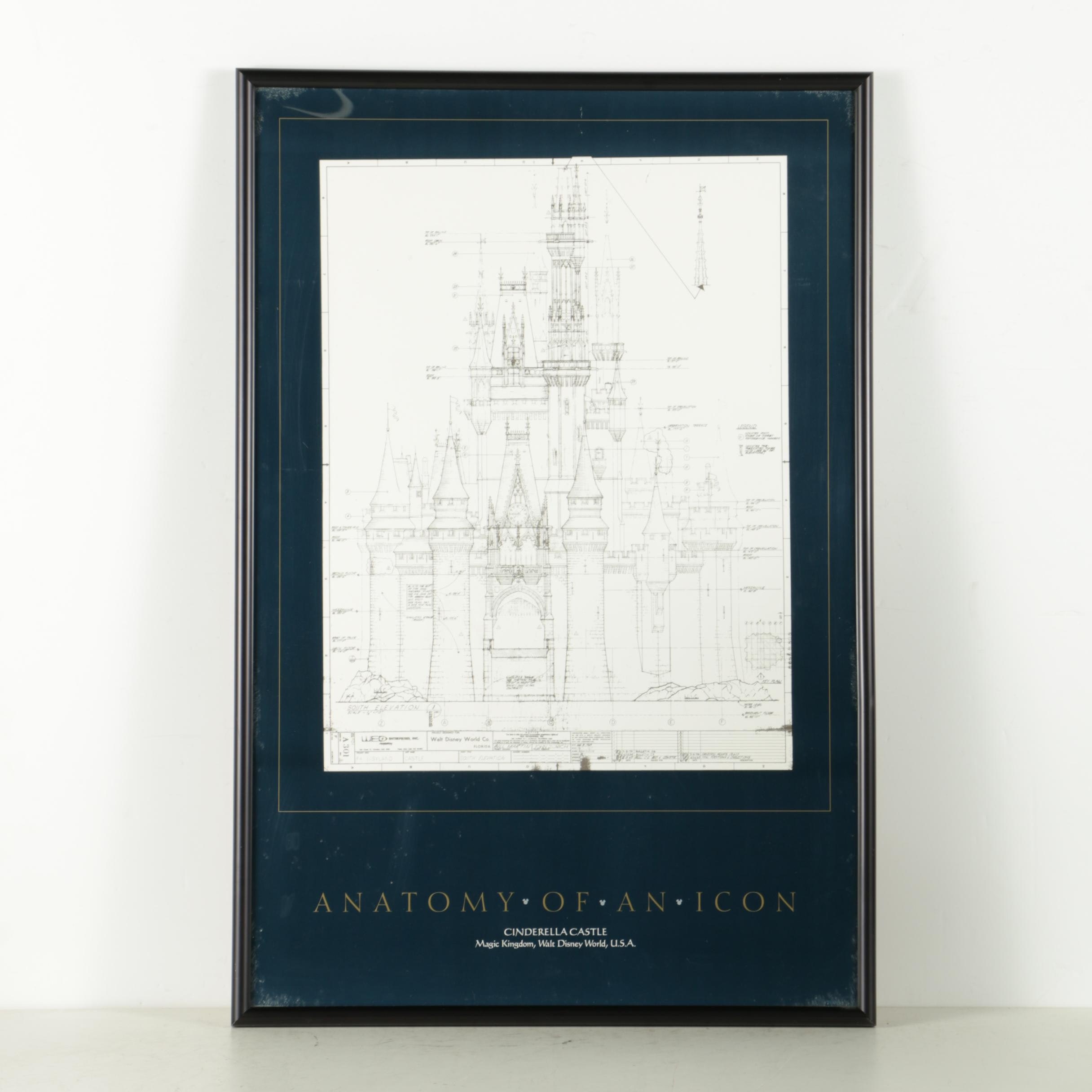 "Poster Featuring Cinderella Castle Architectural Drawing ""Anatomy of an Icon"""