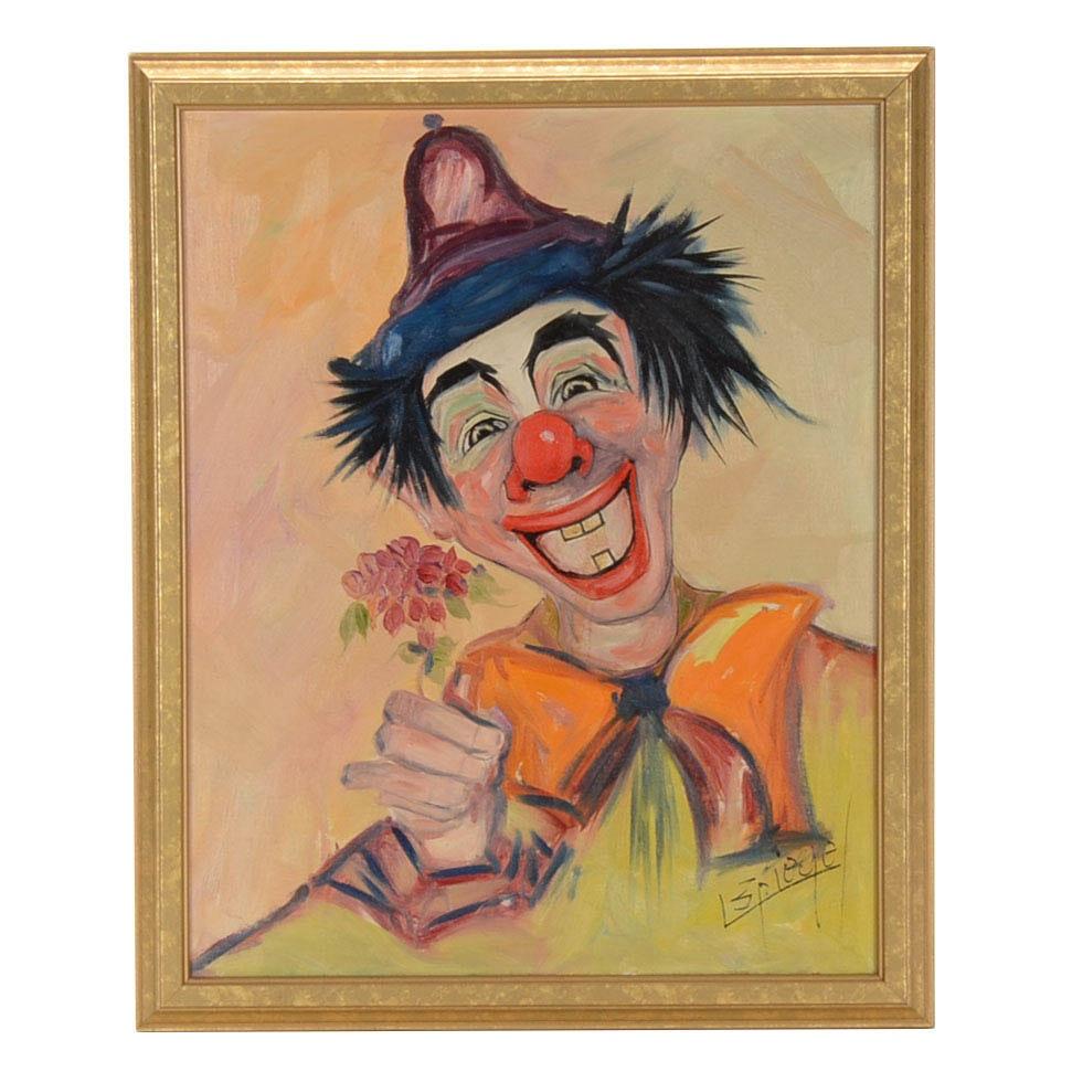 Louis Spiegel OIl on Board Clown Portrait