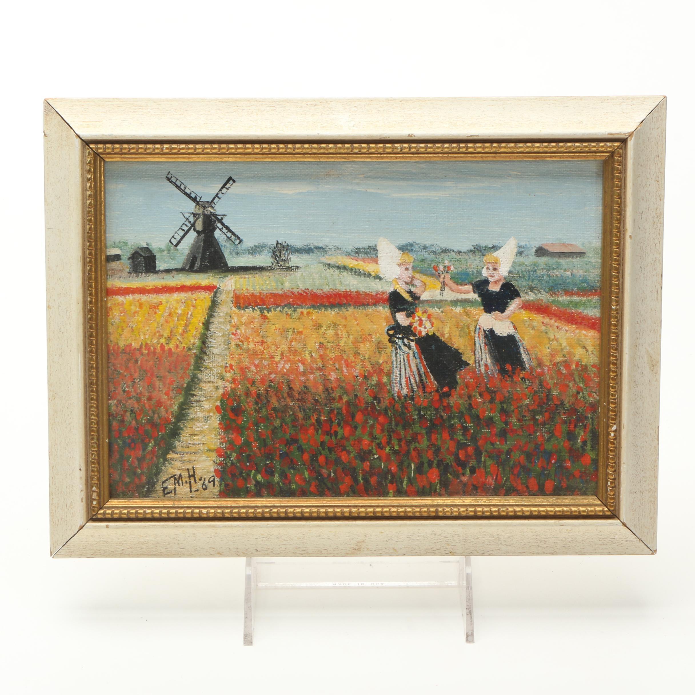 E.M.H. Oil on Canvas Board of Dutch Tulip Field