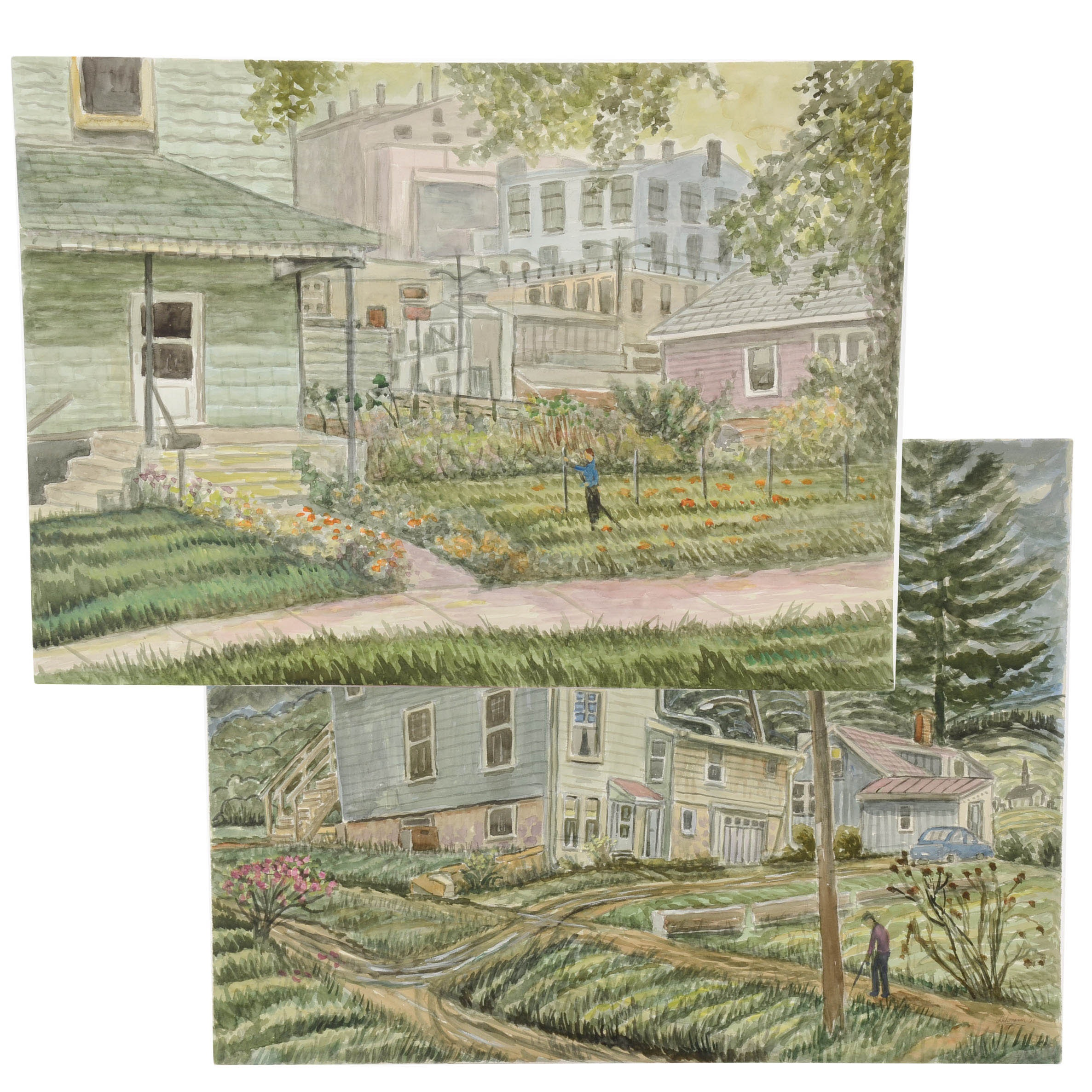 Robert Lahmann Pair of Signed Watercolor Paintings of Suburban Landscapes