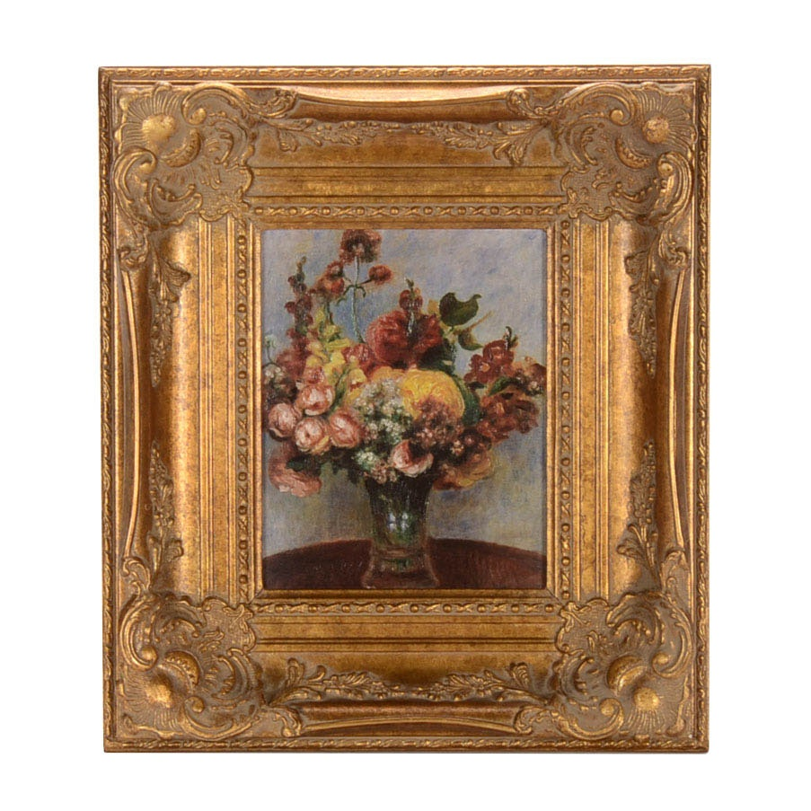 "Embellished Offset Lithograph on Canvas After Renoir's ""Flowers in a Vase"""