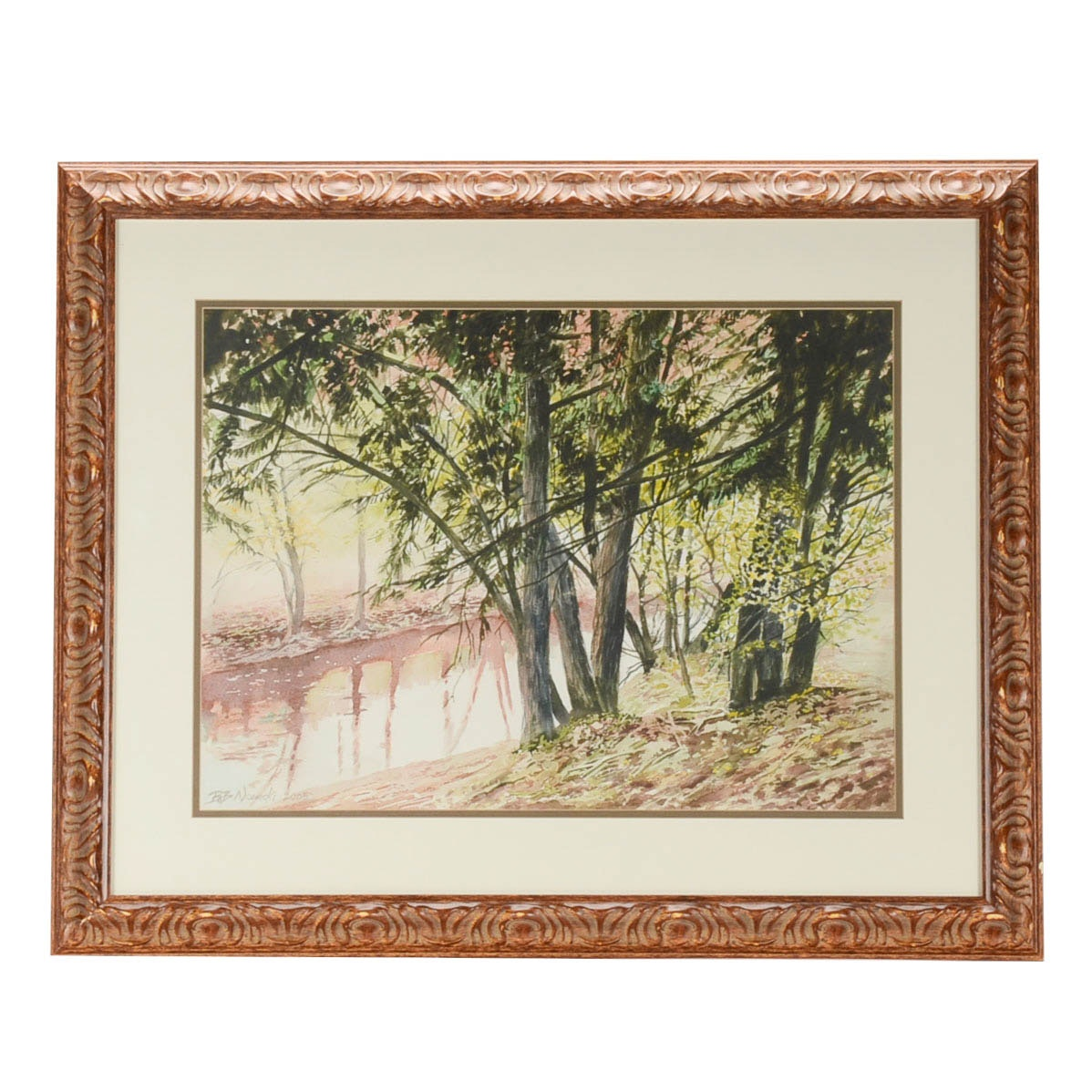 "Bob Nowicki Signed Watercolor of a Landscape ""Foggy Morn"""