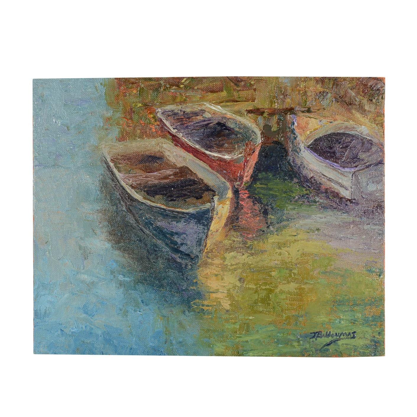 "James Baldoumas Oil on Canvas Board ""Three Boats"""