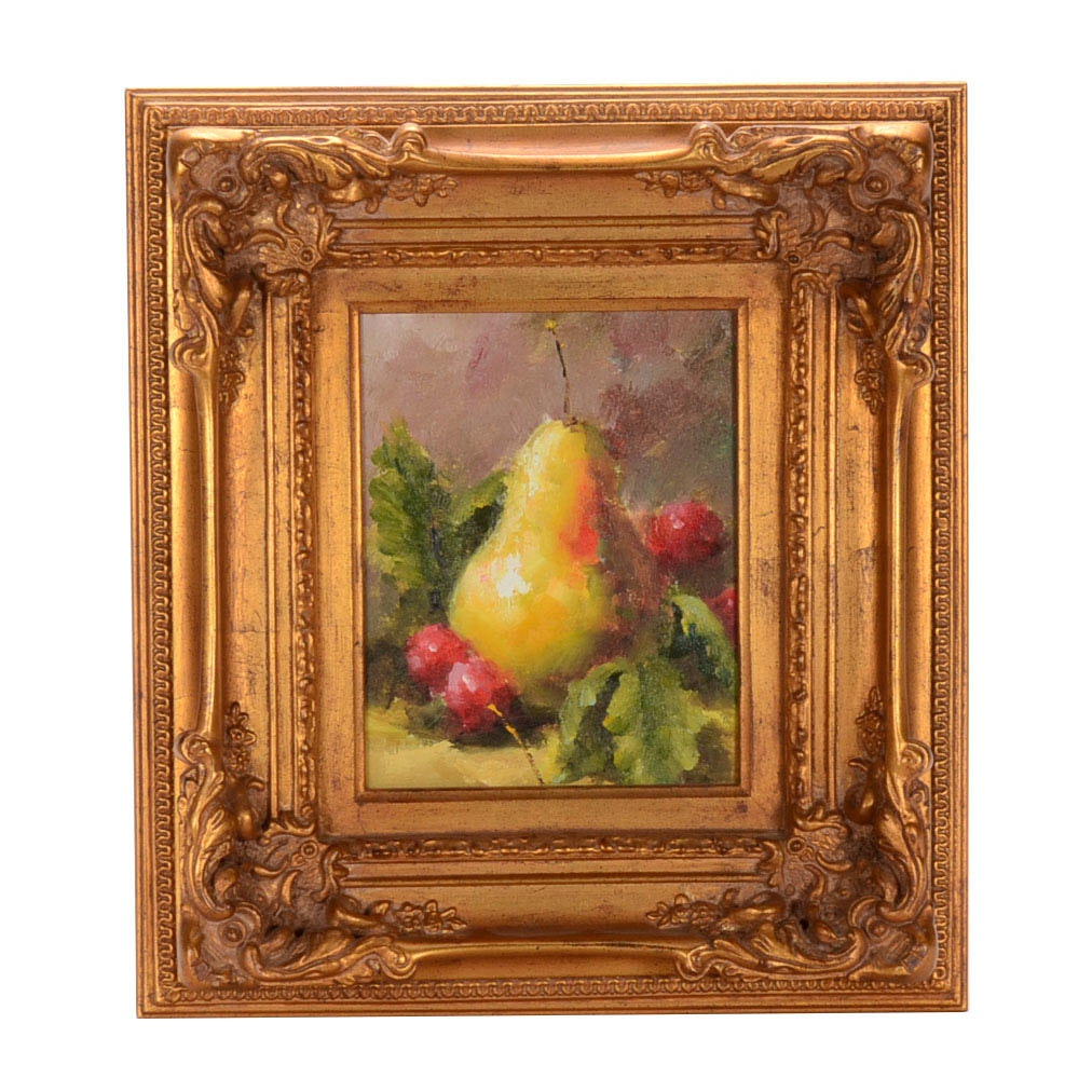 Contemporary Oil on Canvas Fruit Still Life Painting