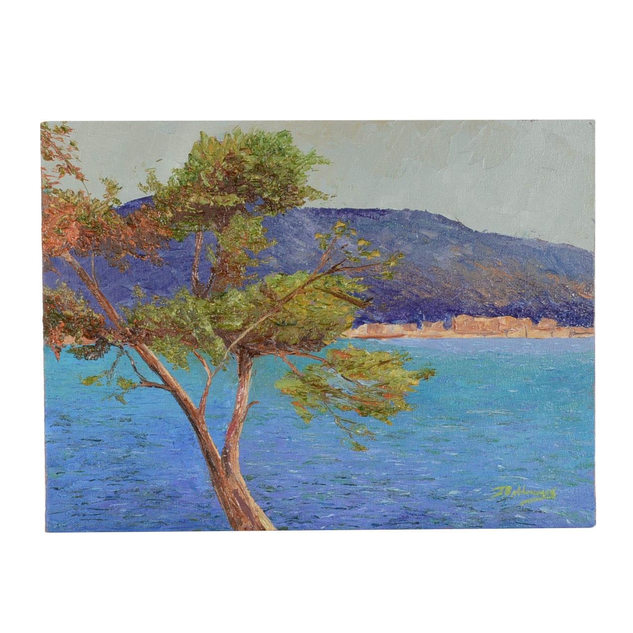 "James Baldoumas Oil Painting on Canvas Board ""Coastal Tree"""