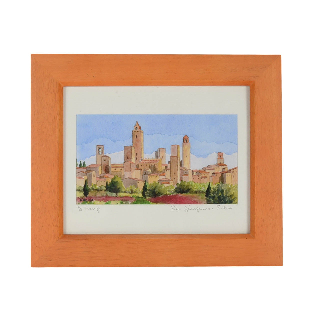 "Signed Watercolor Painting ""San Gimignano - Siena"""