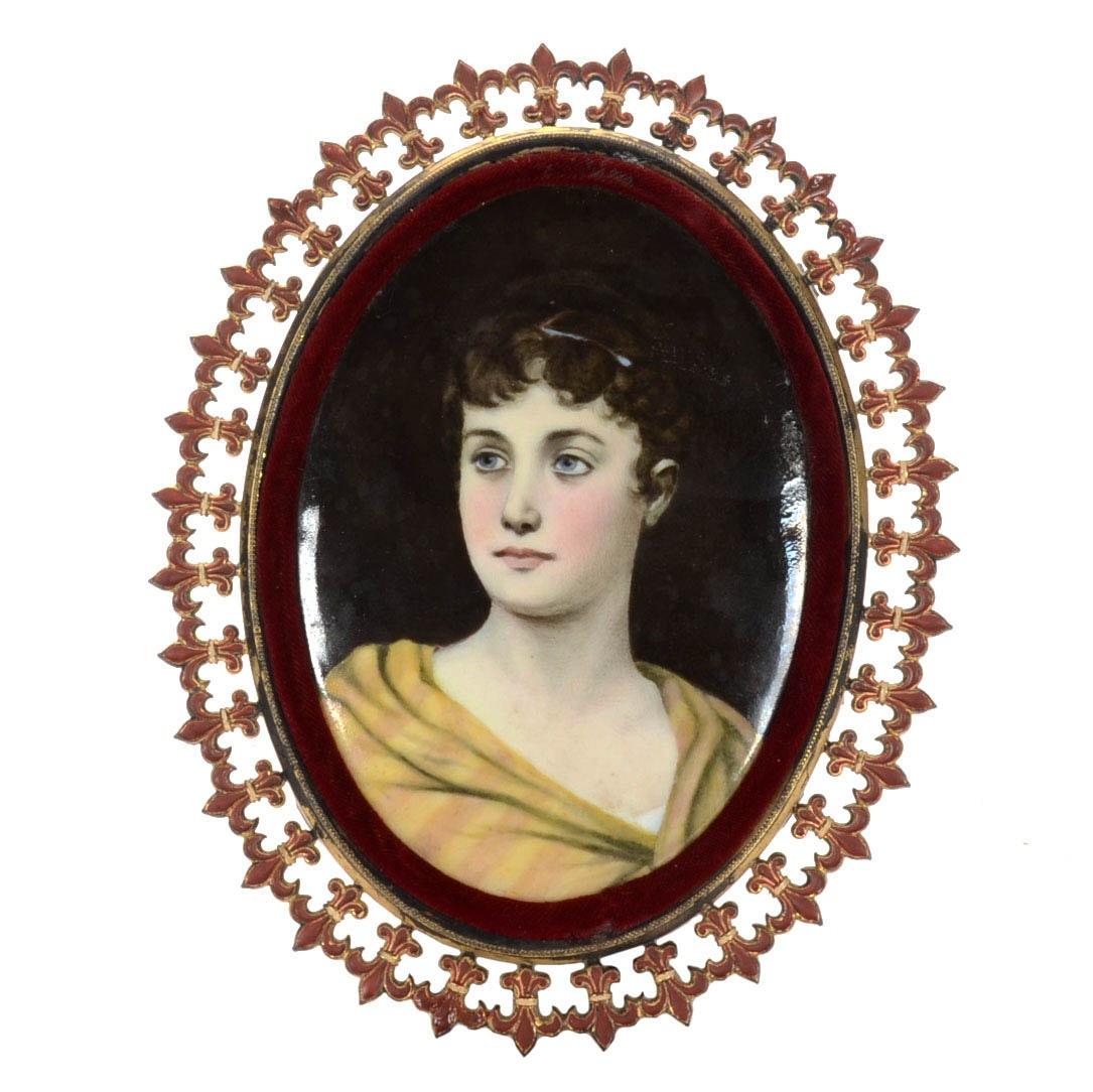 Antique Hand-Painted Porcelain Portrait