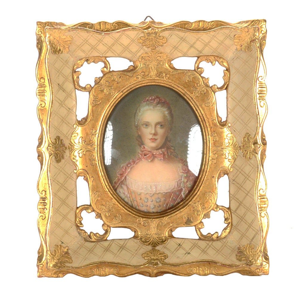 Antique Hand-Painted Miniature Portrait on Paper