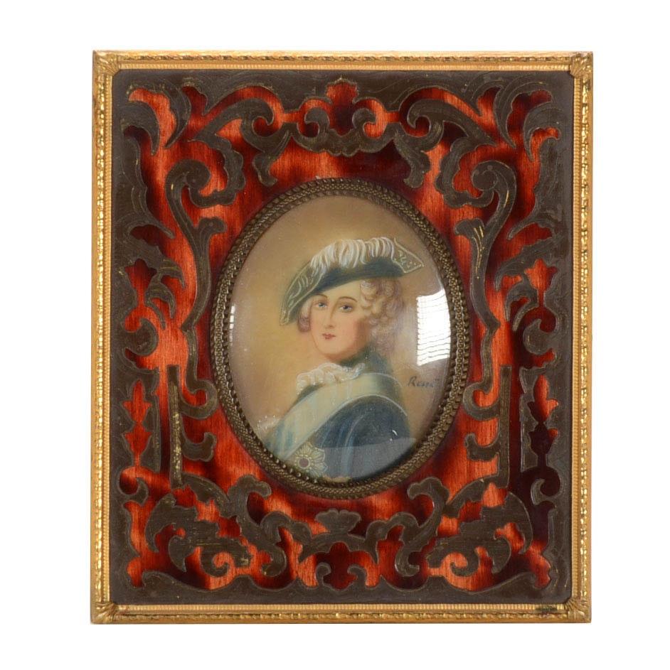 René Antique Hand-Painted Miniature Portrait