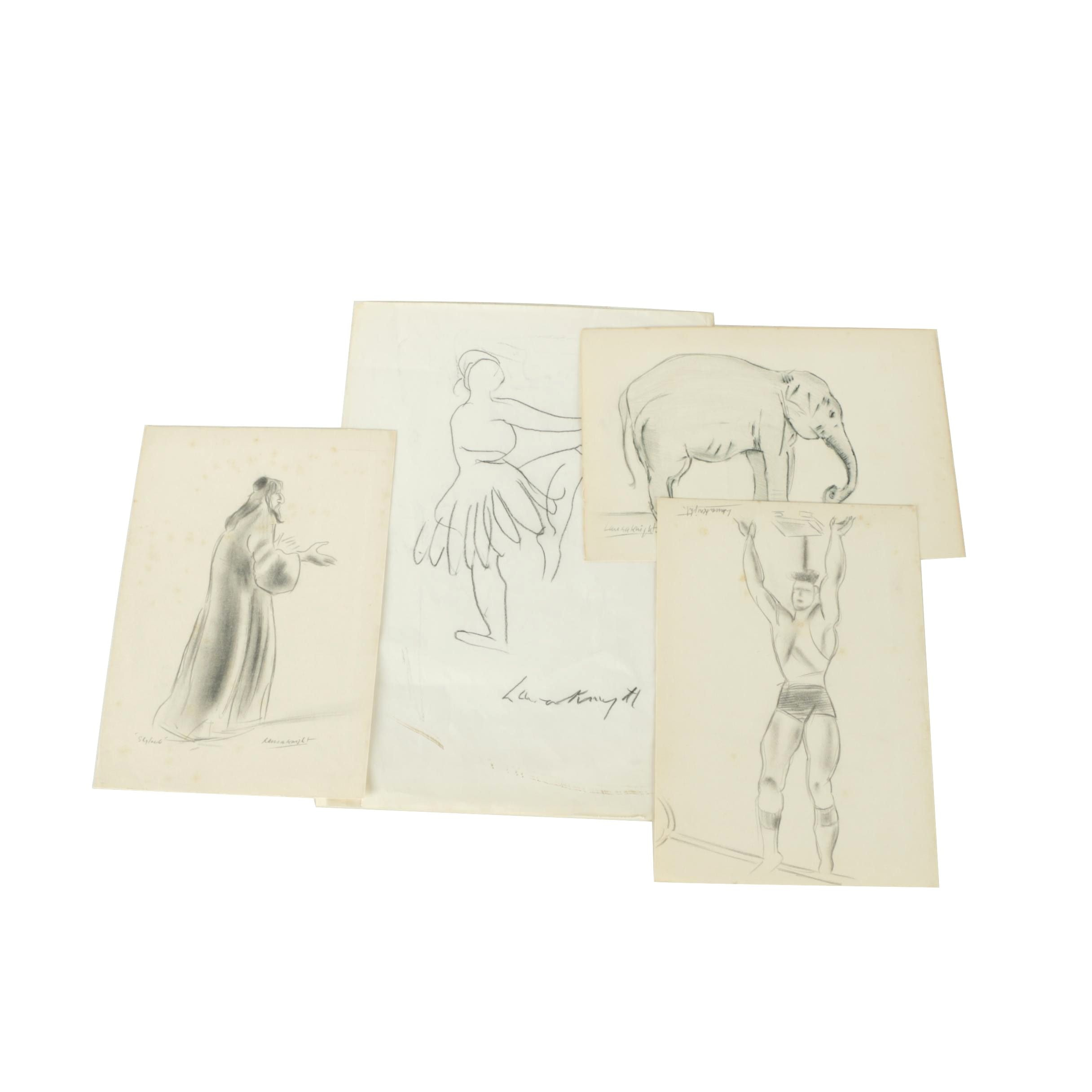 Dame Laura Knight Charcoal Drawings
