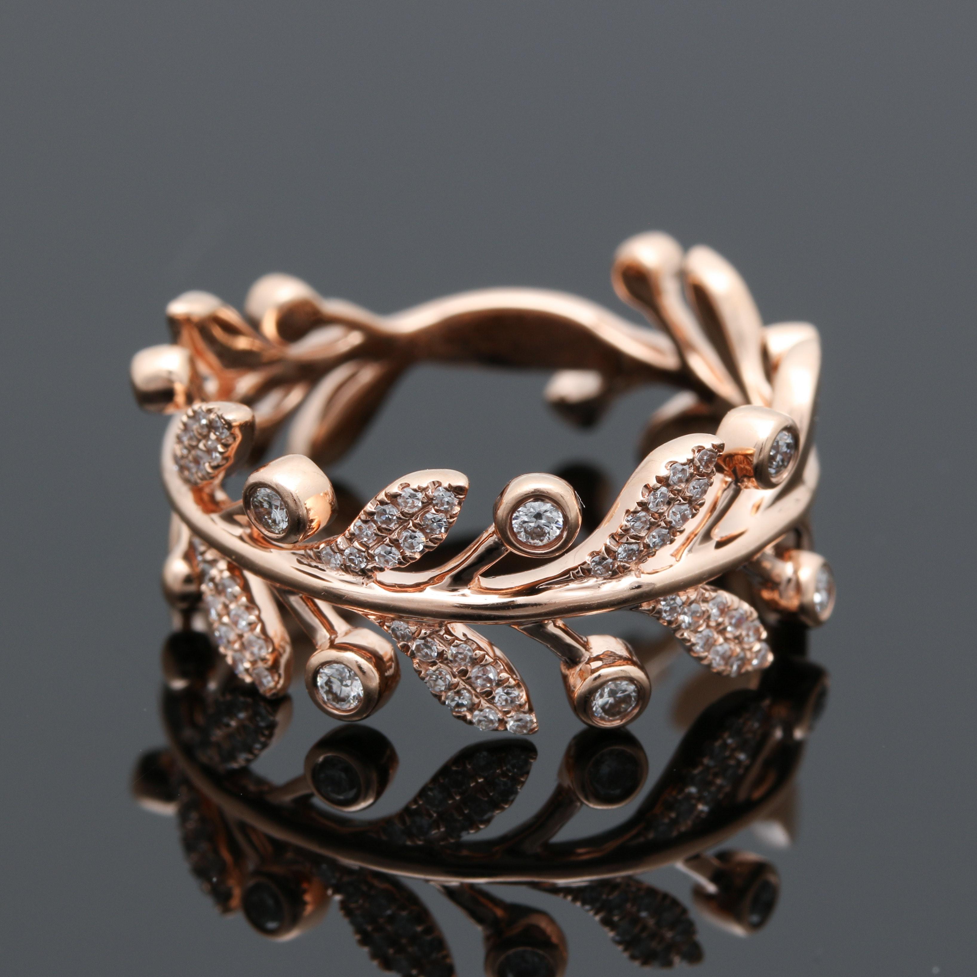 Shy Creation 14K Rose Gold Diamond Foliate Ring
