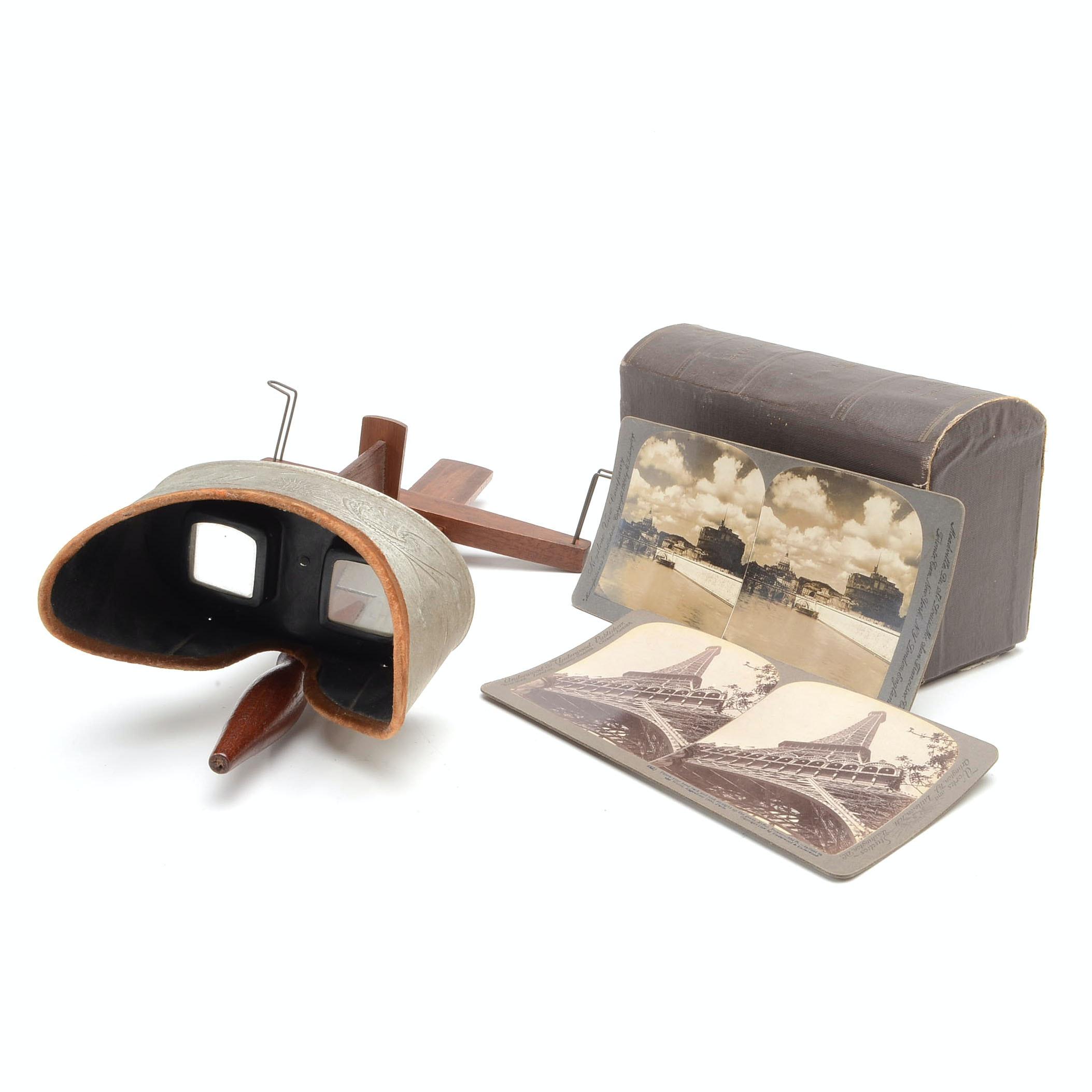 Antique Underwood & Underwood Stereoscope and Slides