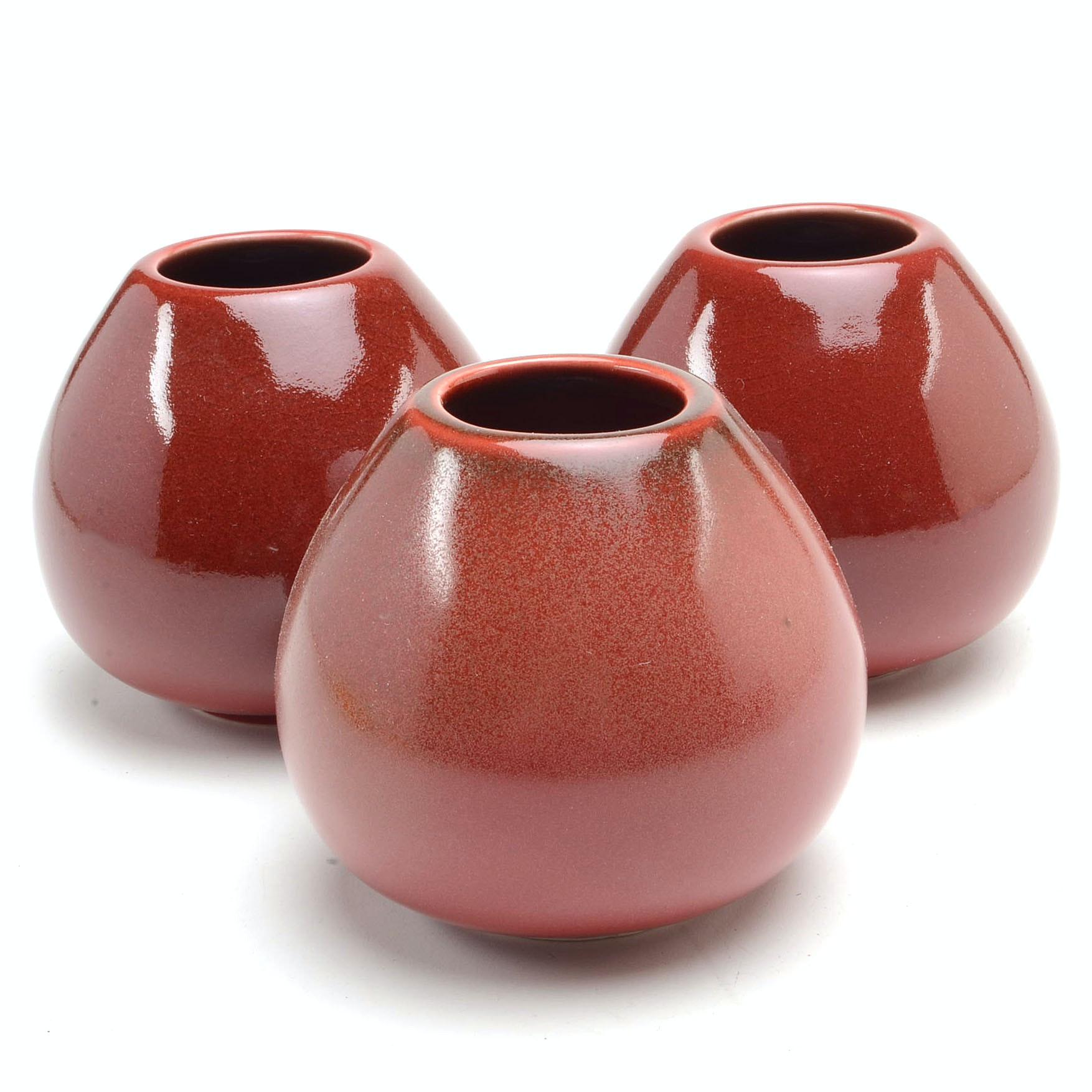 "Three Contemporary Rookwood Art Pottery Maroon ""Sophie"" Vases"
