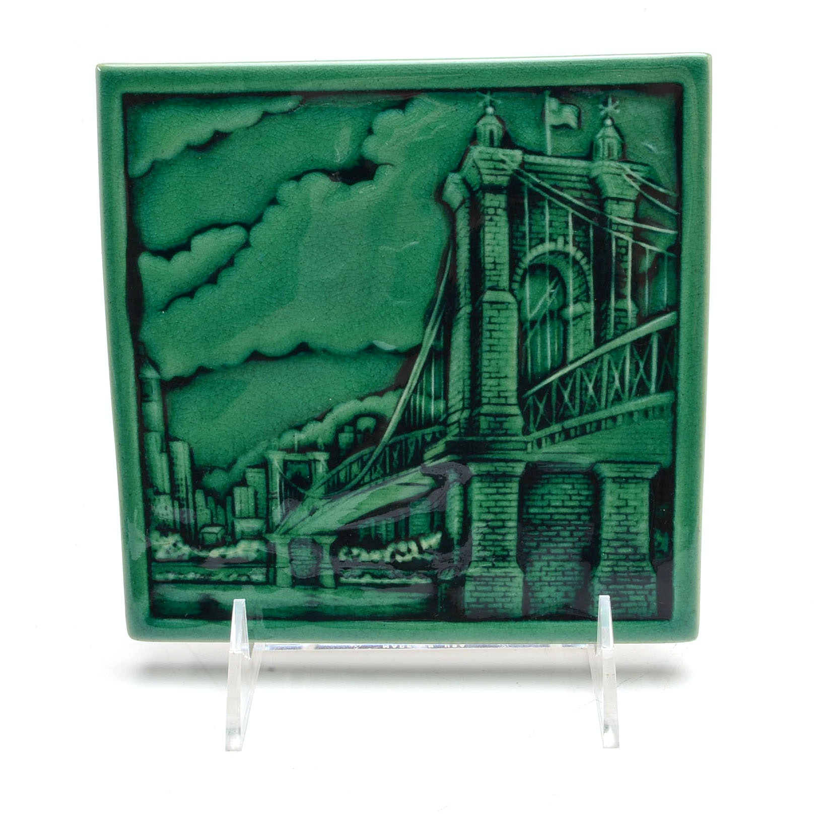 Rookwood Art Pottery Cincinnati Roebling Bridge Tile
