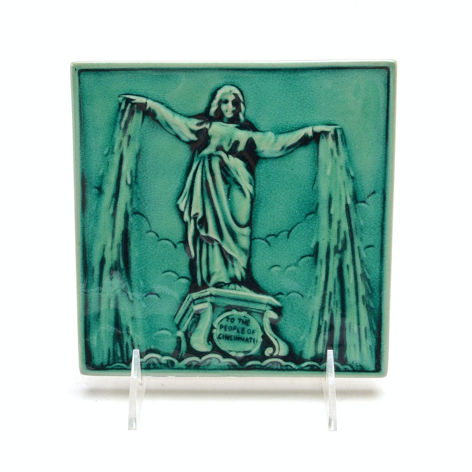 Rookwood Art Pottery Cincinnati Emerald Isle Fountain Square Tile