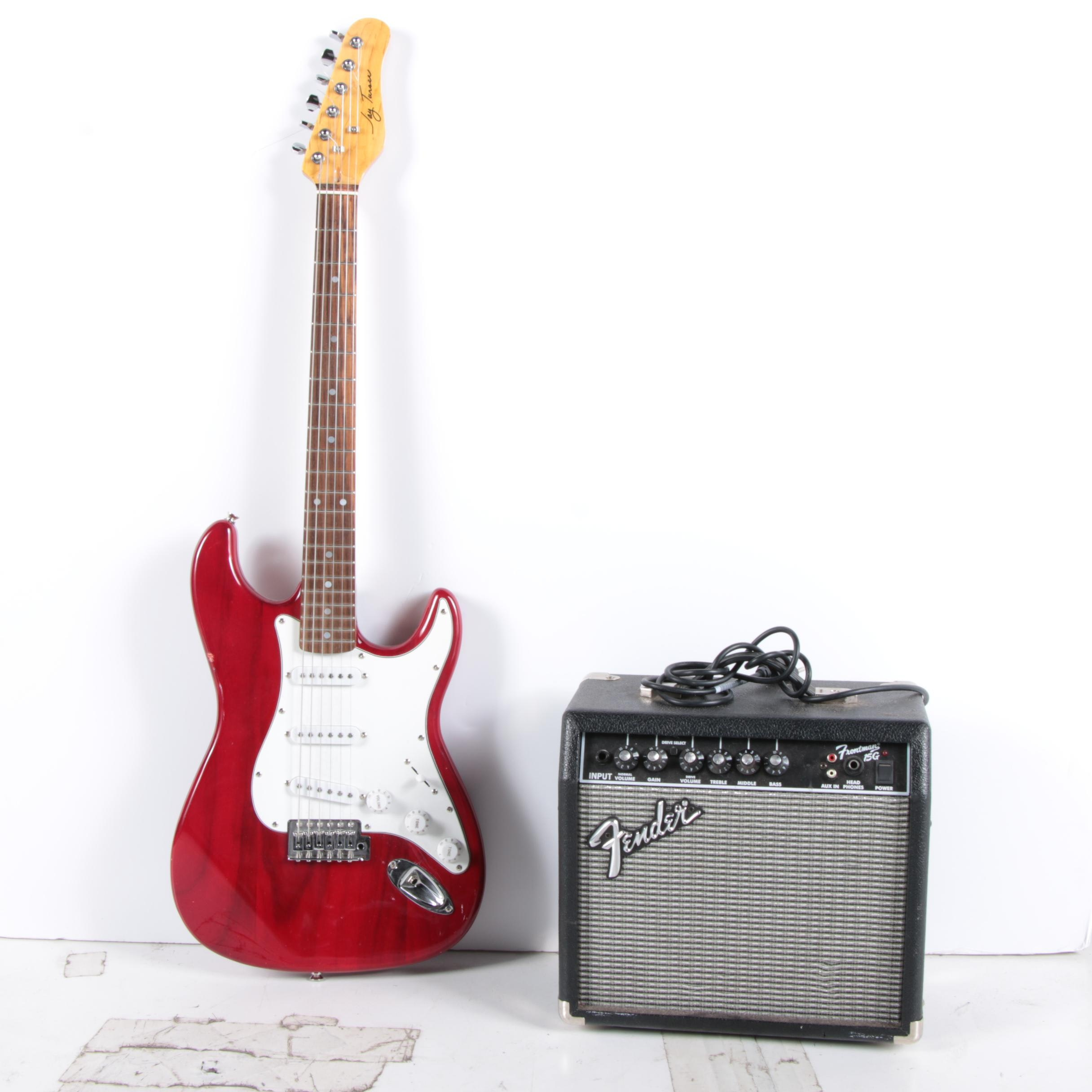 Jay Turser Electric Guitar and Fender Frontman 15G Amplifier